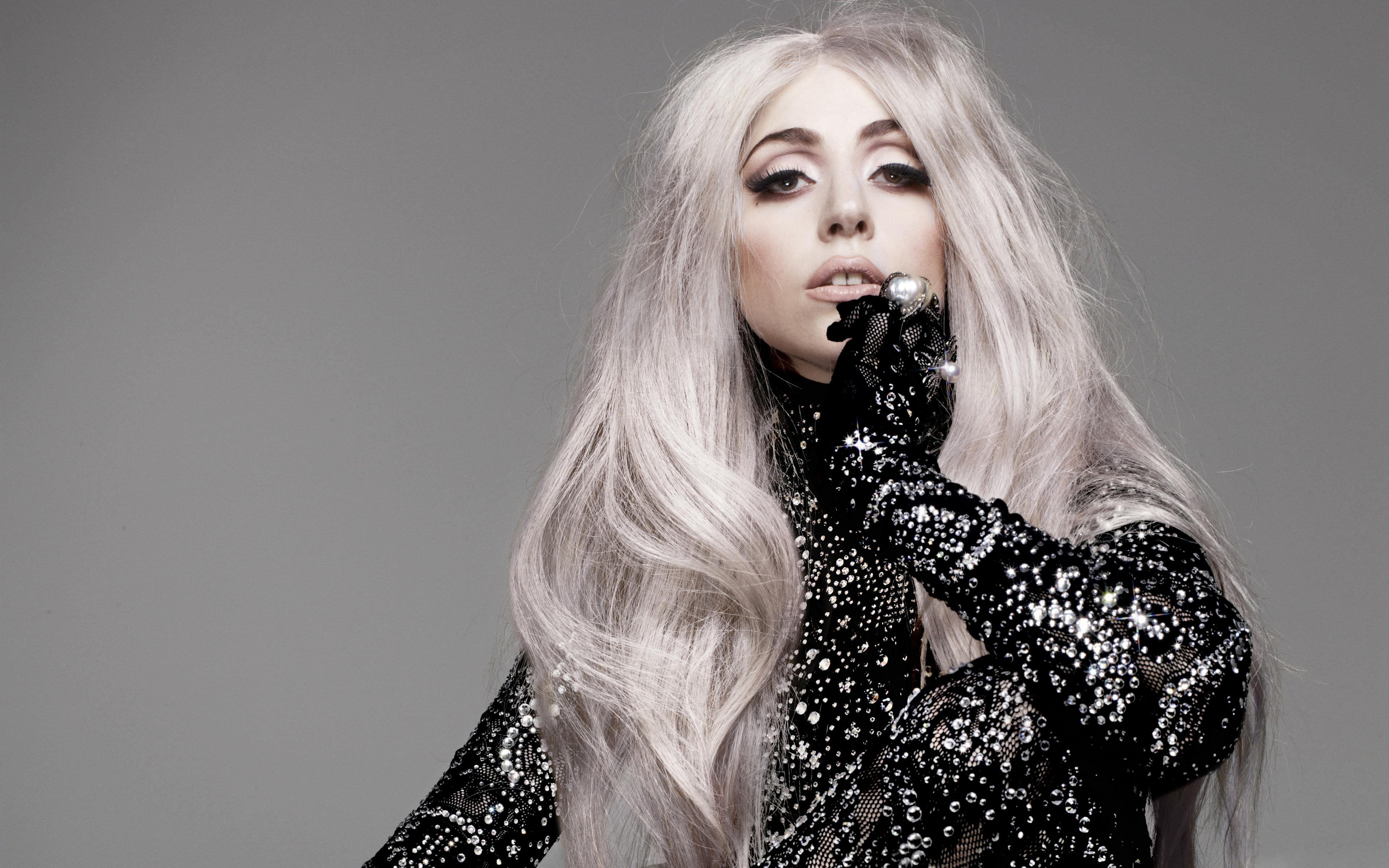 American Lady Gaga Long Hair Singer White Hair 3840x2400