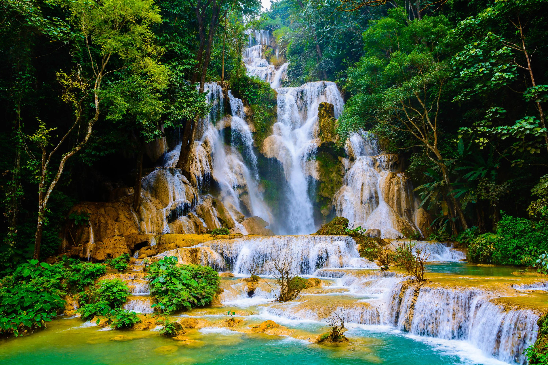Nature Rock Vietnam Waterfall 3000x1999