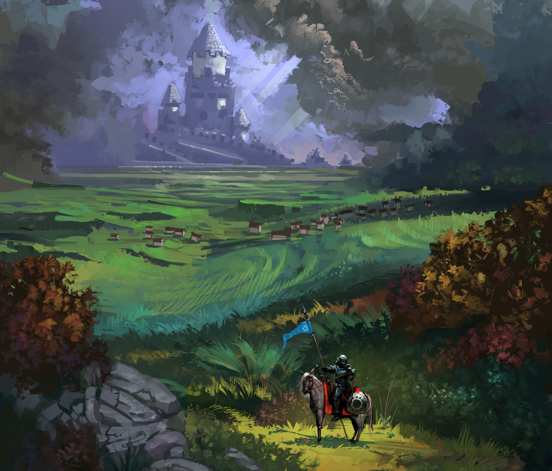 Castle Horse Knight Landscape Warrior 1920x1640