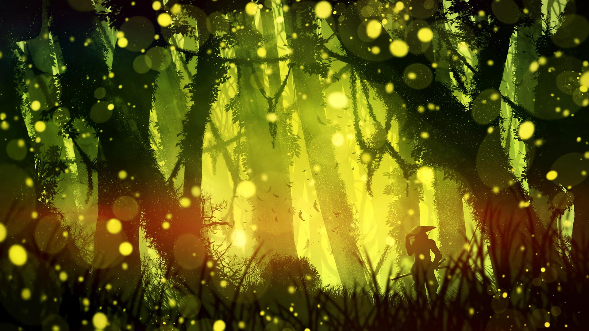 Firefly Forest Samurai Warrior 1920x1080