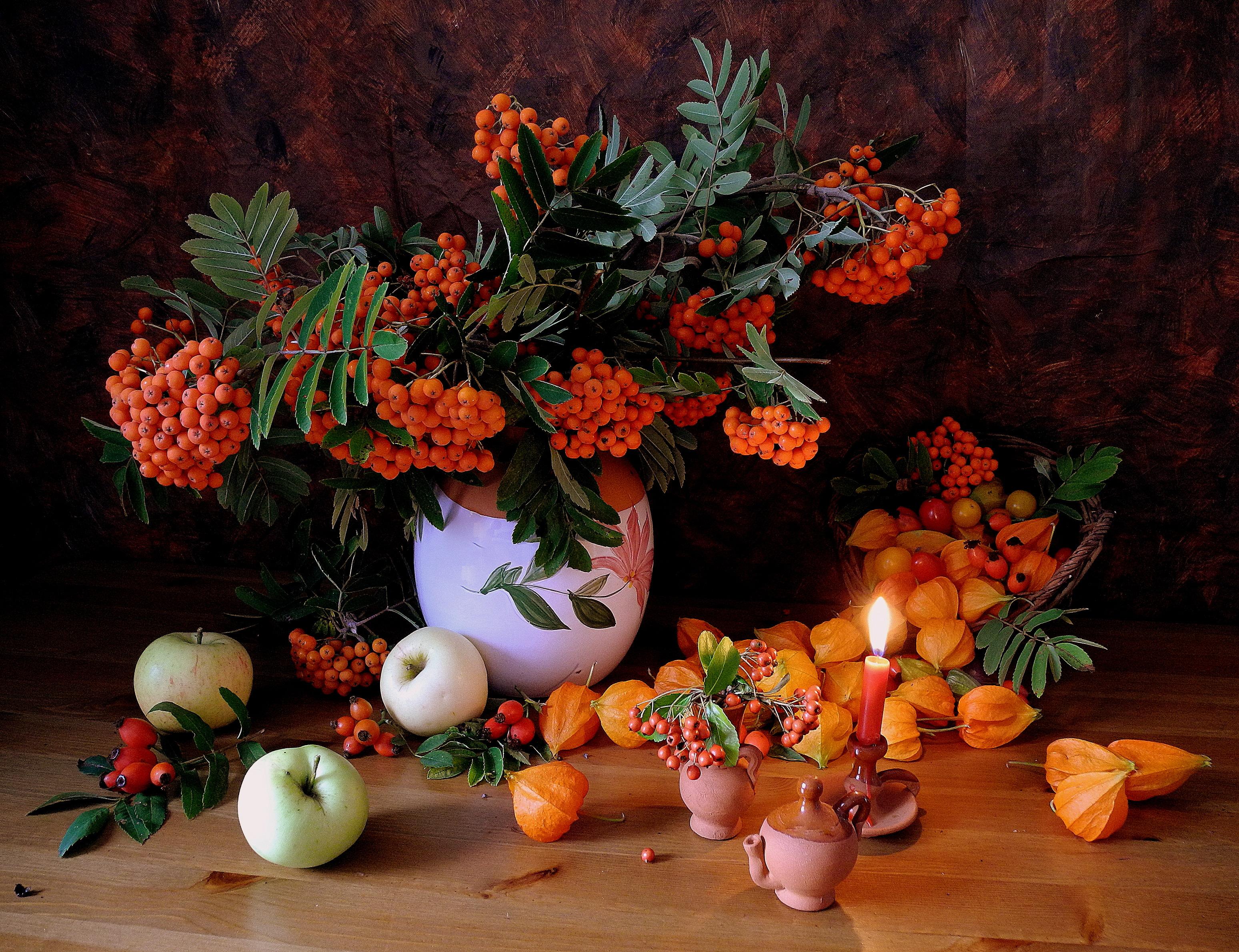Apple Apricot Berry Candle Fruit Leaf Pitcher Still Life Vase Orange Color 3097x2379
