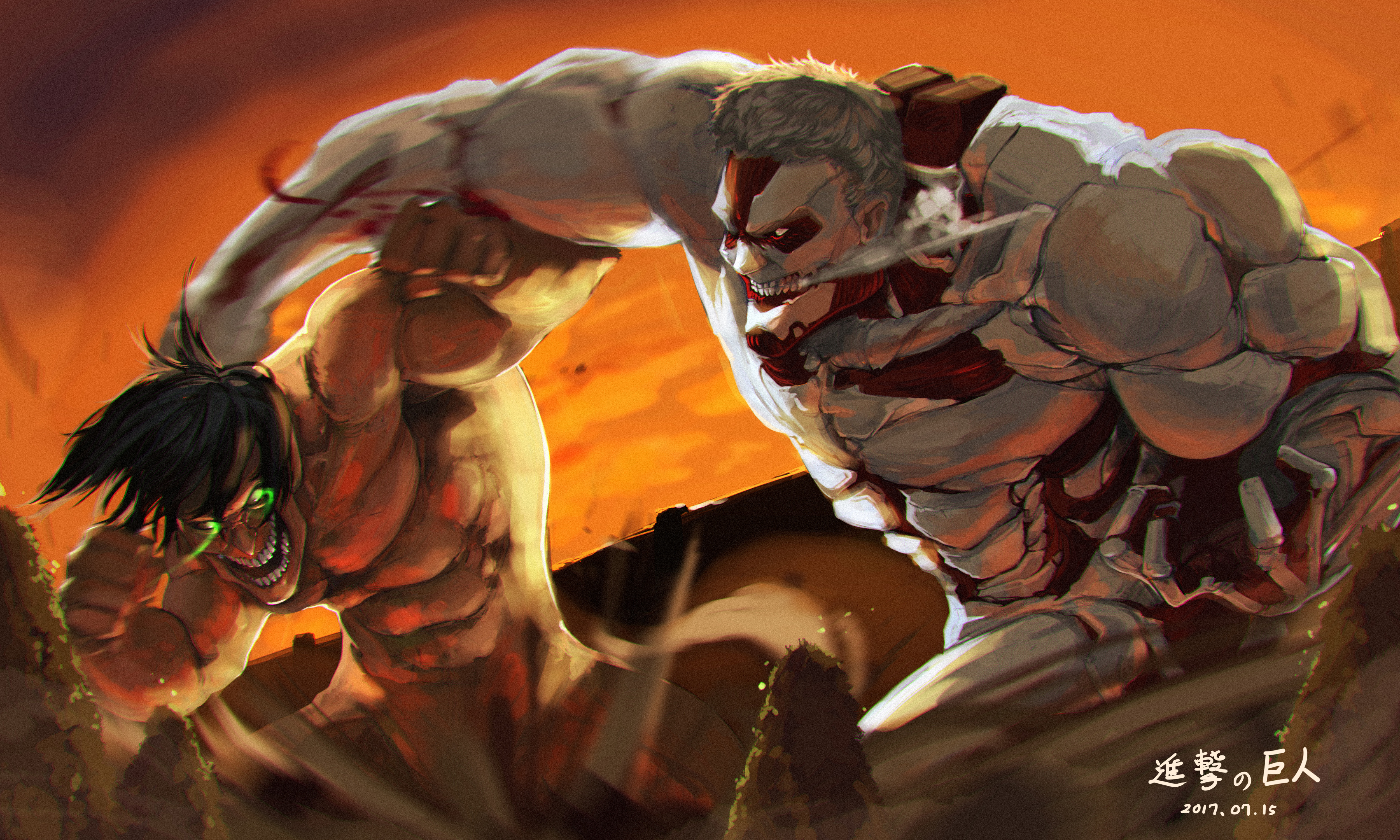 Armored Titan Attack On Titan Eren Yeager Reiner Braun Wallpaper Resolution 5000x3000 Id 1104488 Wallha Com