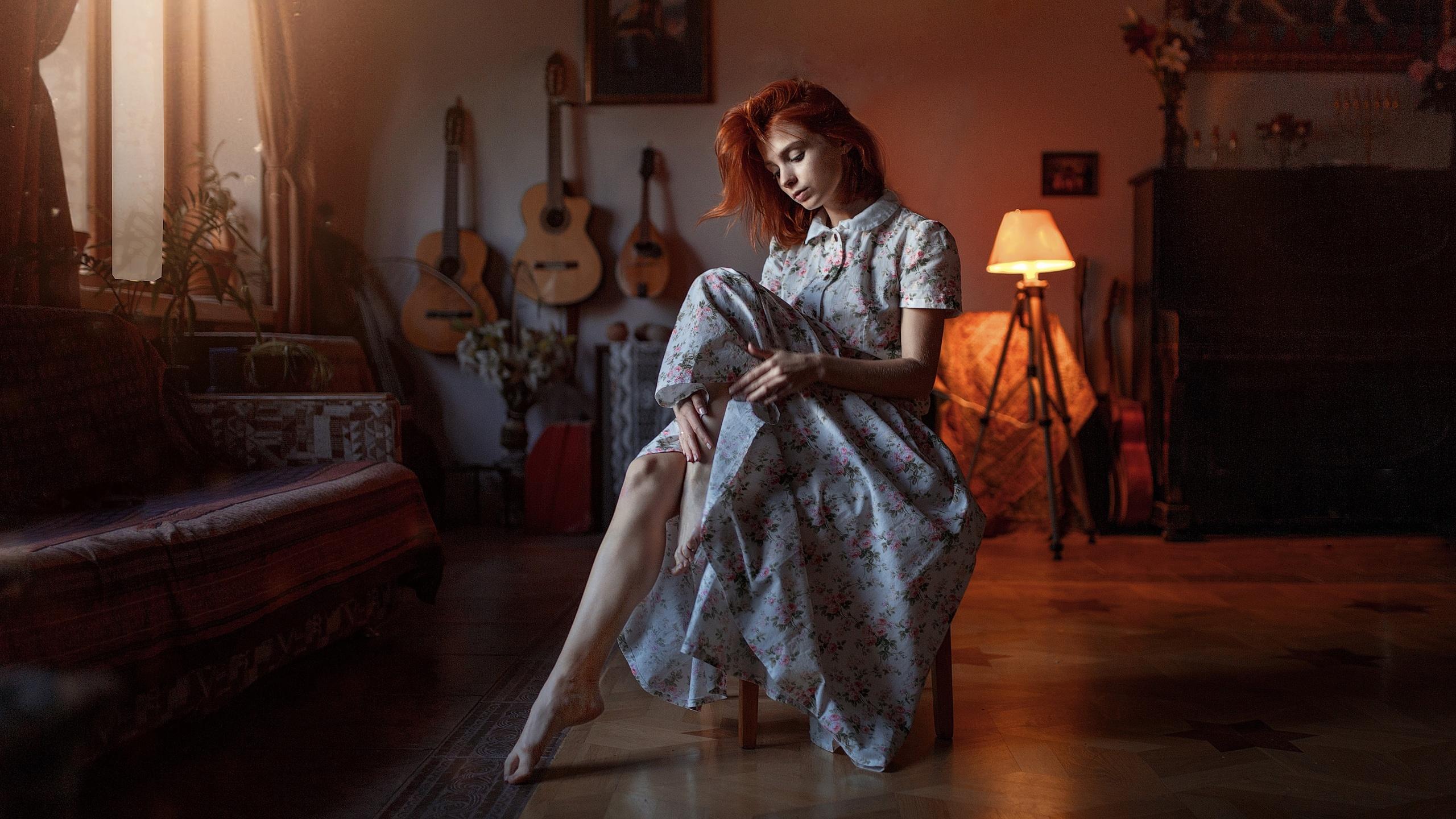 Dress Girl Model Mood Redhead Woman 2560x1440