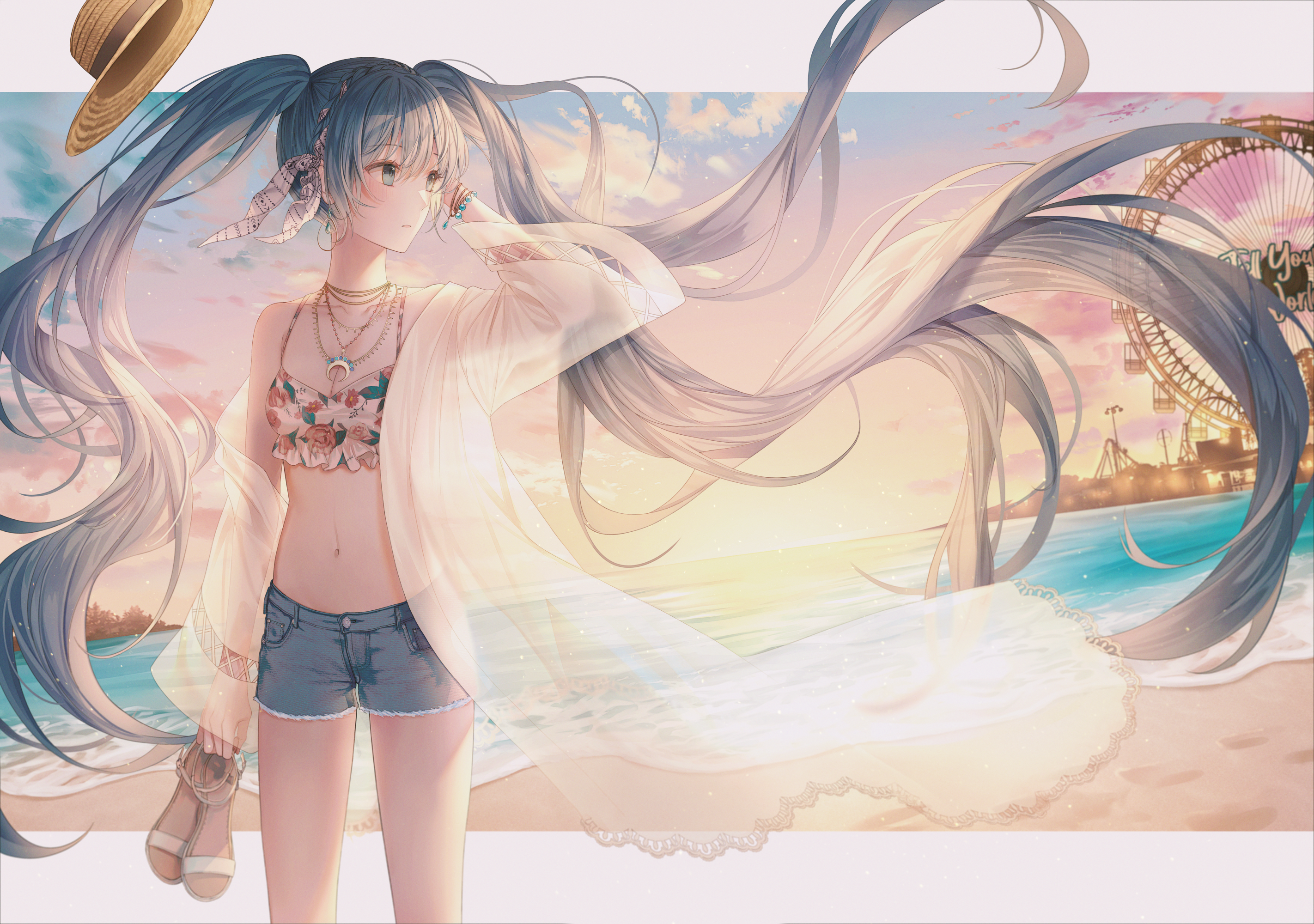 Vocaloid Hatsune Miku Long Hair Blue Hair Short Pants Beach Anime Girls Anime Lium Artwork 2844x2000