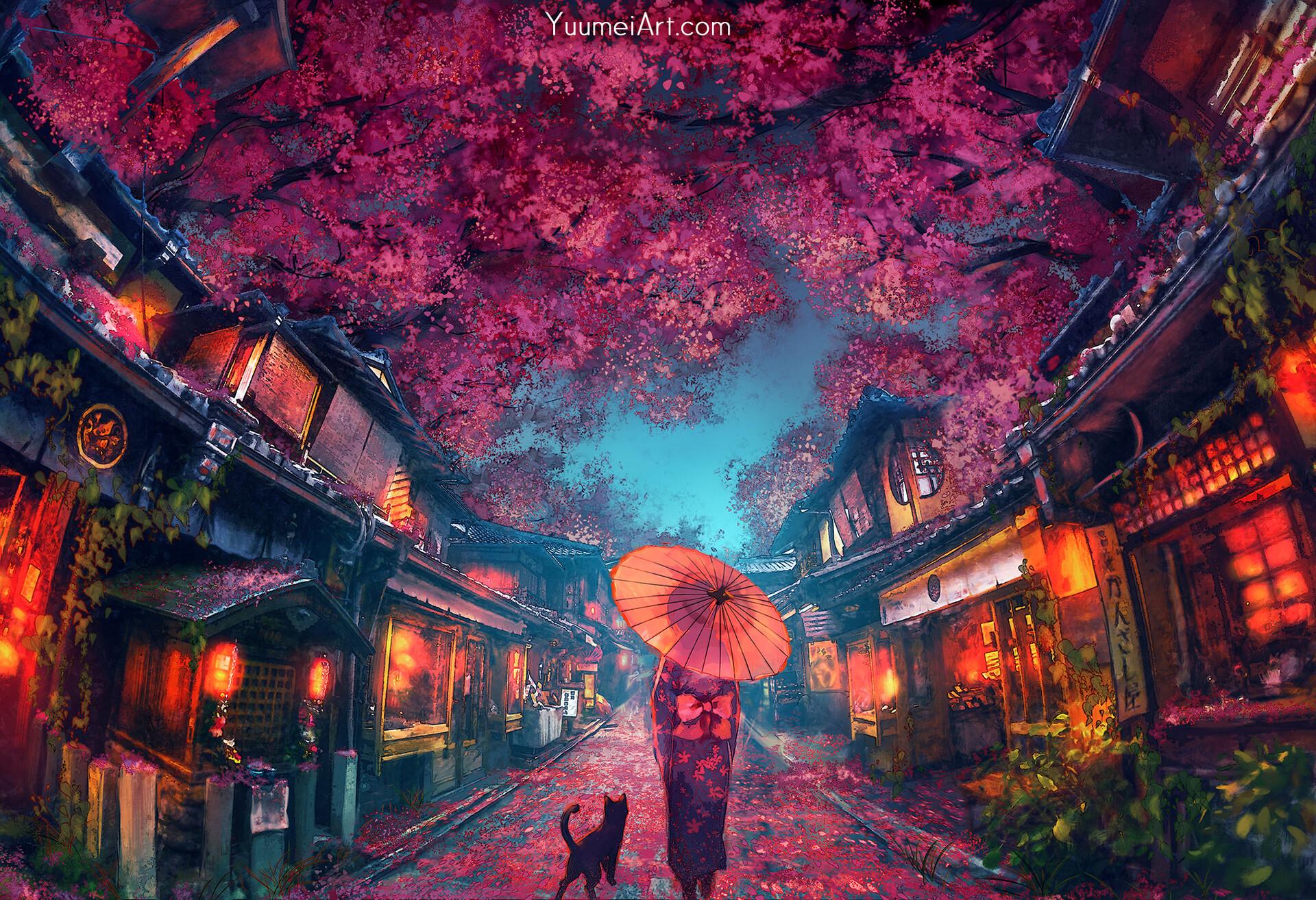 Girl Kimono Parasol Sakura Street 1920x1314