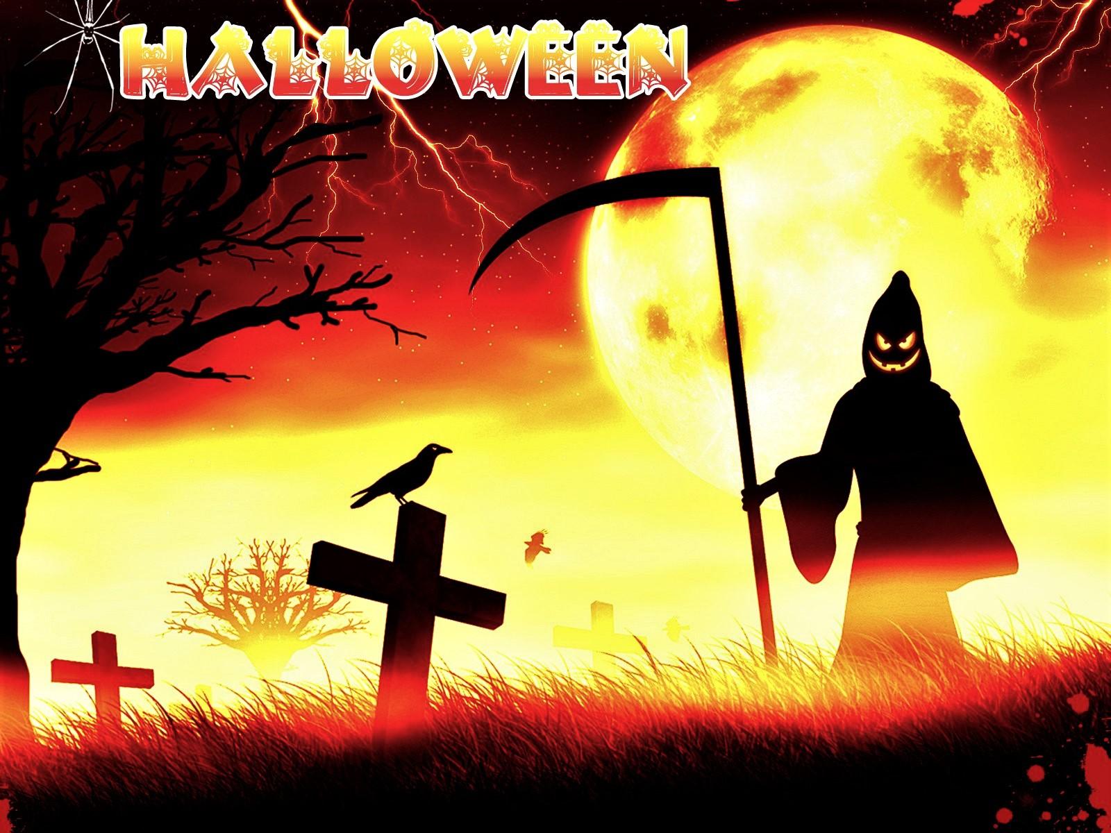 Grim Reaper Halloween Holiday Moon Raven 1600x1200