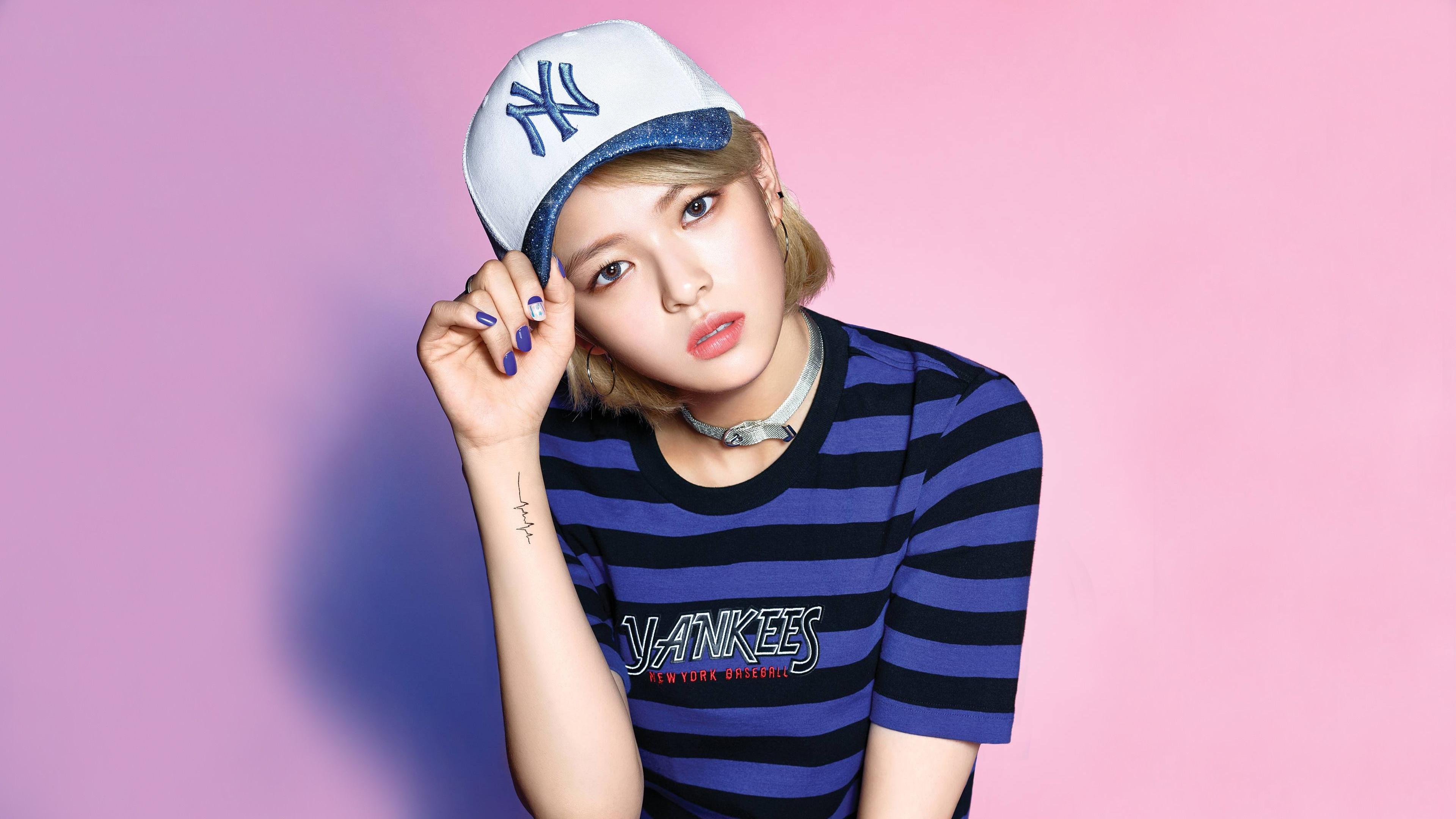 Twice Twice JeongYeon Girl Band K Pop Asian Korean Korean Women Pink Lipstick Pink Background 3840x2160