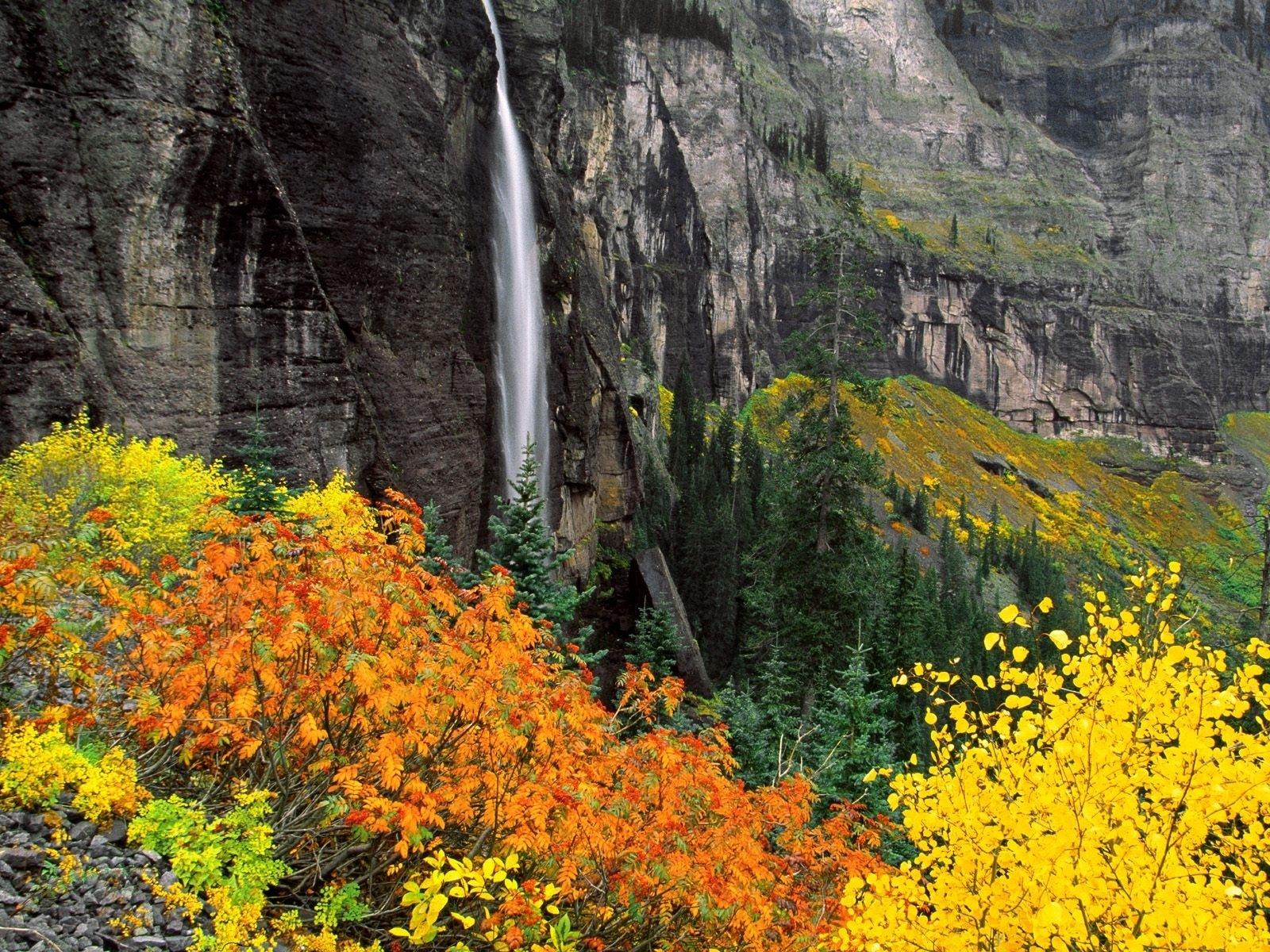 Nature Rock Vegetation Water Waterfall 1600x1200