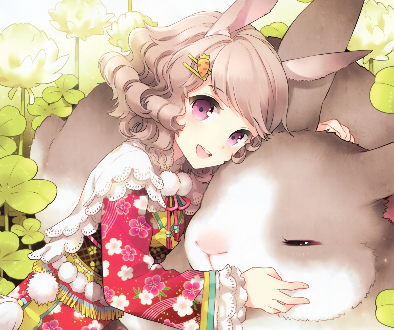 Blonde Blush Bunny Bunny Ears Carrot Clover Dandelion Kimono Purple Eyes Short Hair Smile 2456x2056