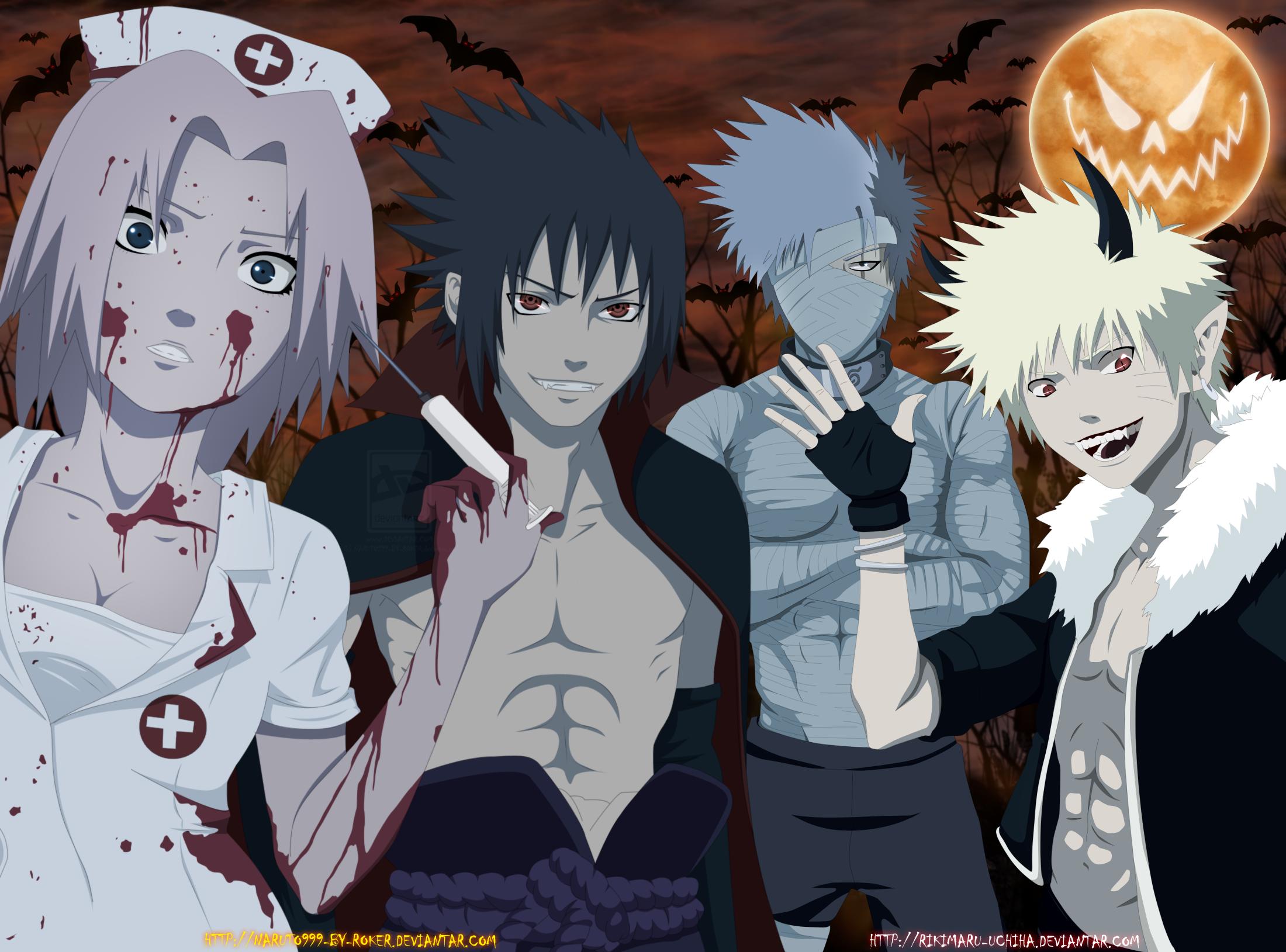 Halloween Kakashi Hatake Naruto Uzumaki Sakura Haruno Sasuke Uchiha 2200x1629