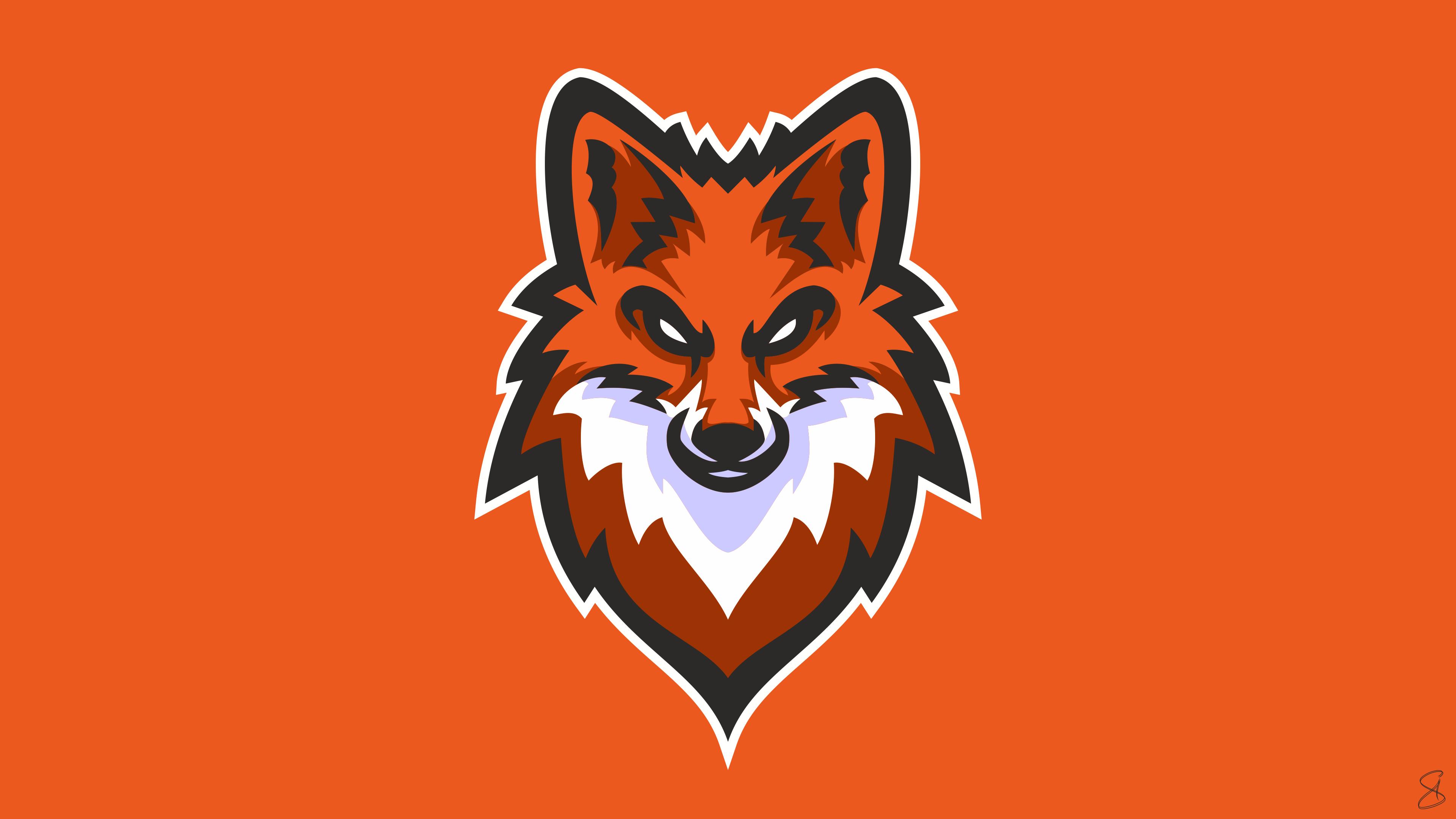 Fox Graphic Design Orange Color 3840x2160