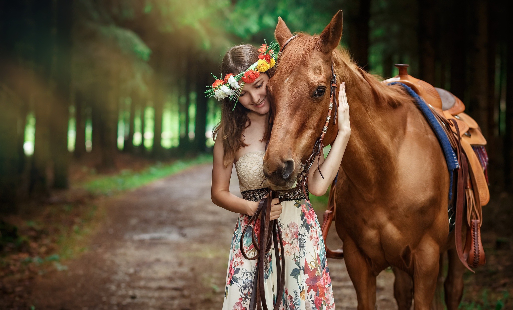 Brunette Depth Of Field Dress Girl Horse Mood Smile Woman Wreath 2048x1238