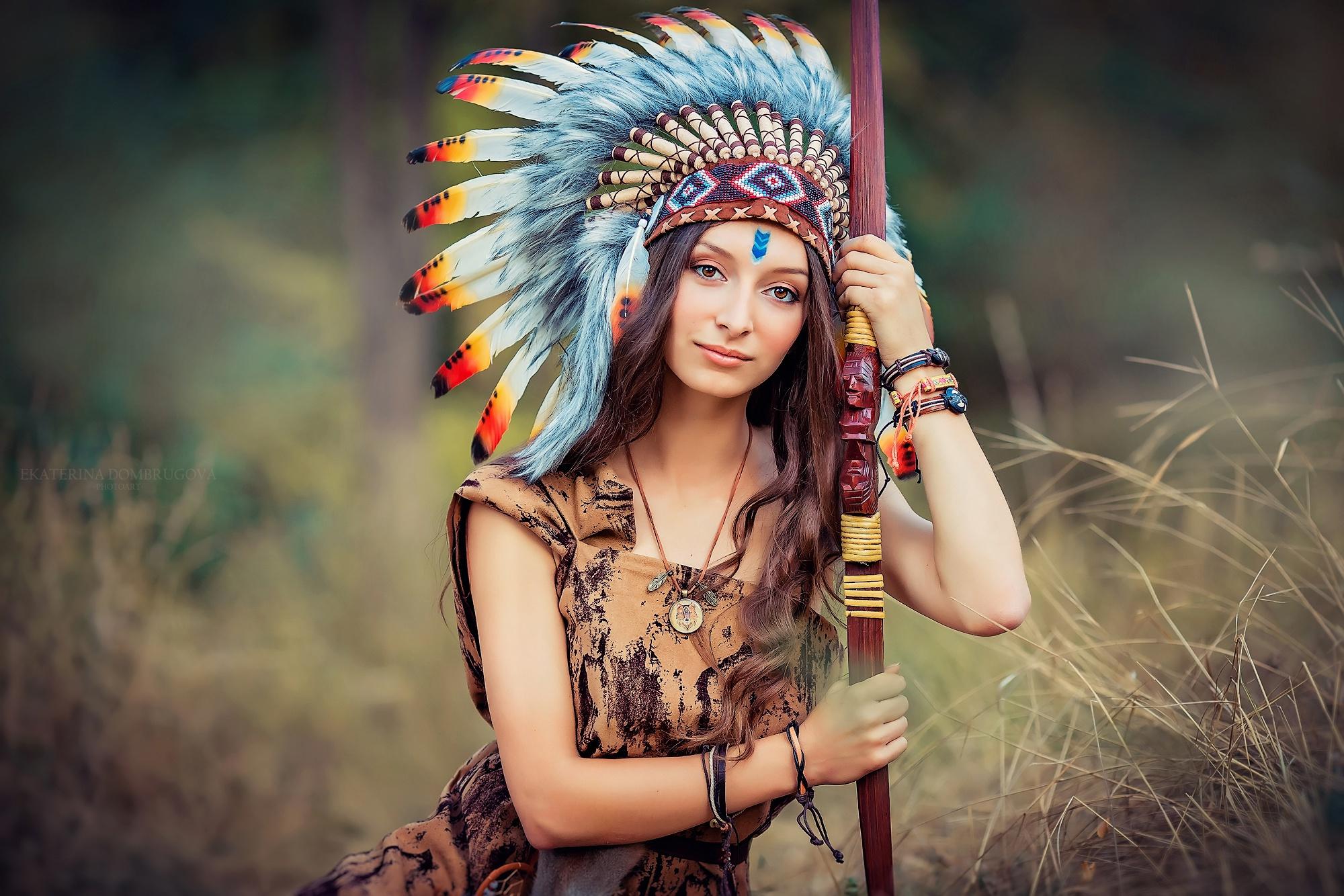 Asian Brown Eyes Brunette Depth Of Field Feather Girl Headdress Long Hair Model Native American Woma 2000x1334
