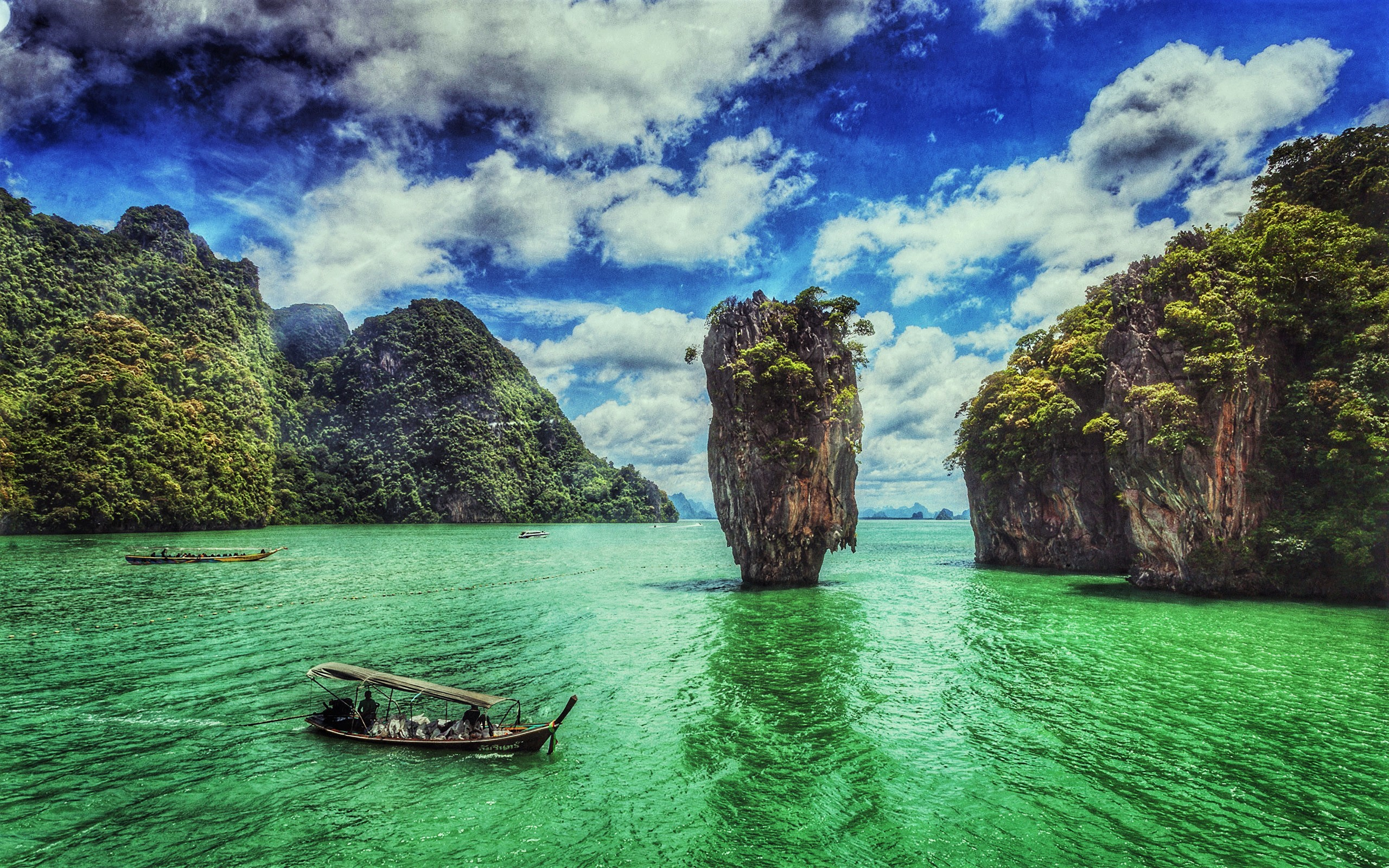 Boat Long Tail Boat Ocean Rock Sea Thailand Turquoise Vehicle 2560x1600