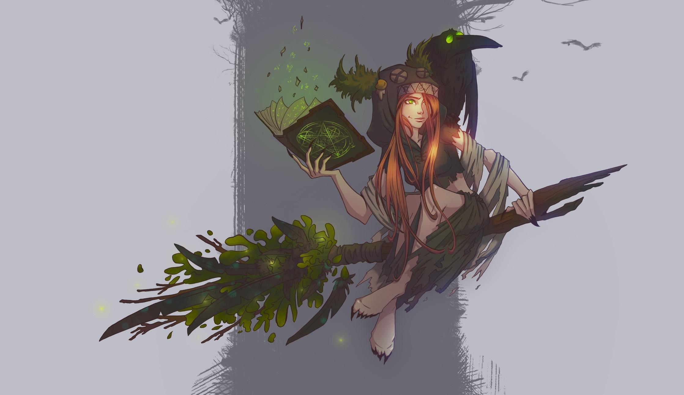 Book Broom Girl Green Eyes Long Hair Orange Hair Raven Witch Woman 2236x1292