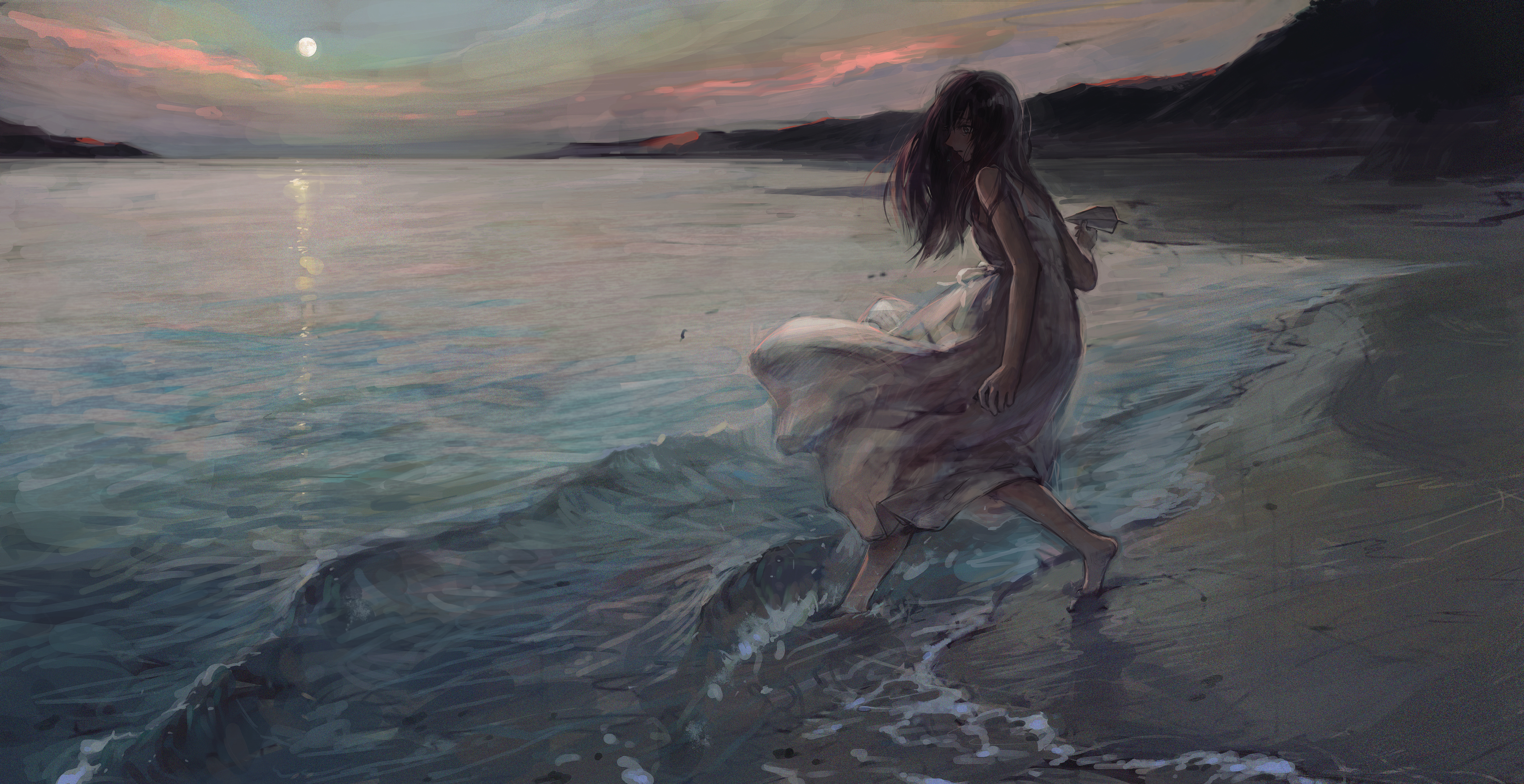 Beach Black Hair Girl Long Hair 3399x1750