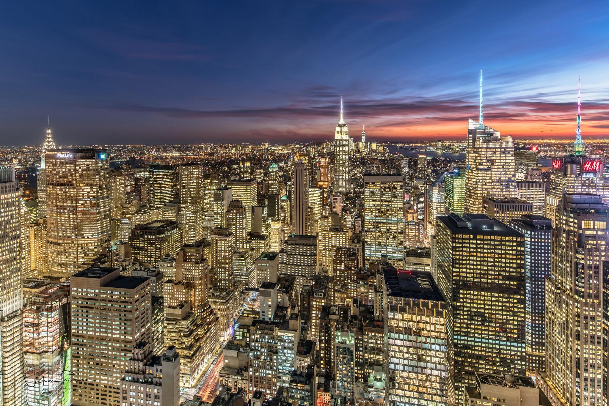 Usa Night City Cityscape Building Skyscraper Manhattan 2048x1366