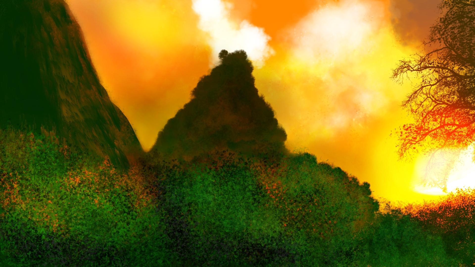 Digital Art Digital Painting Nature 1920x1080
