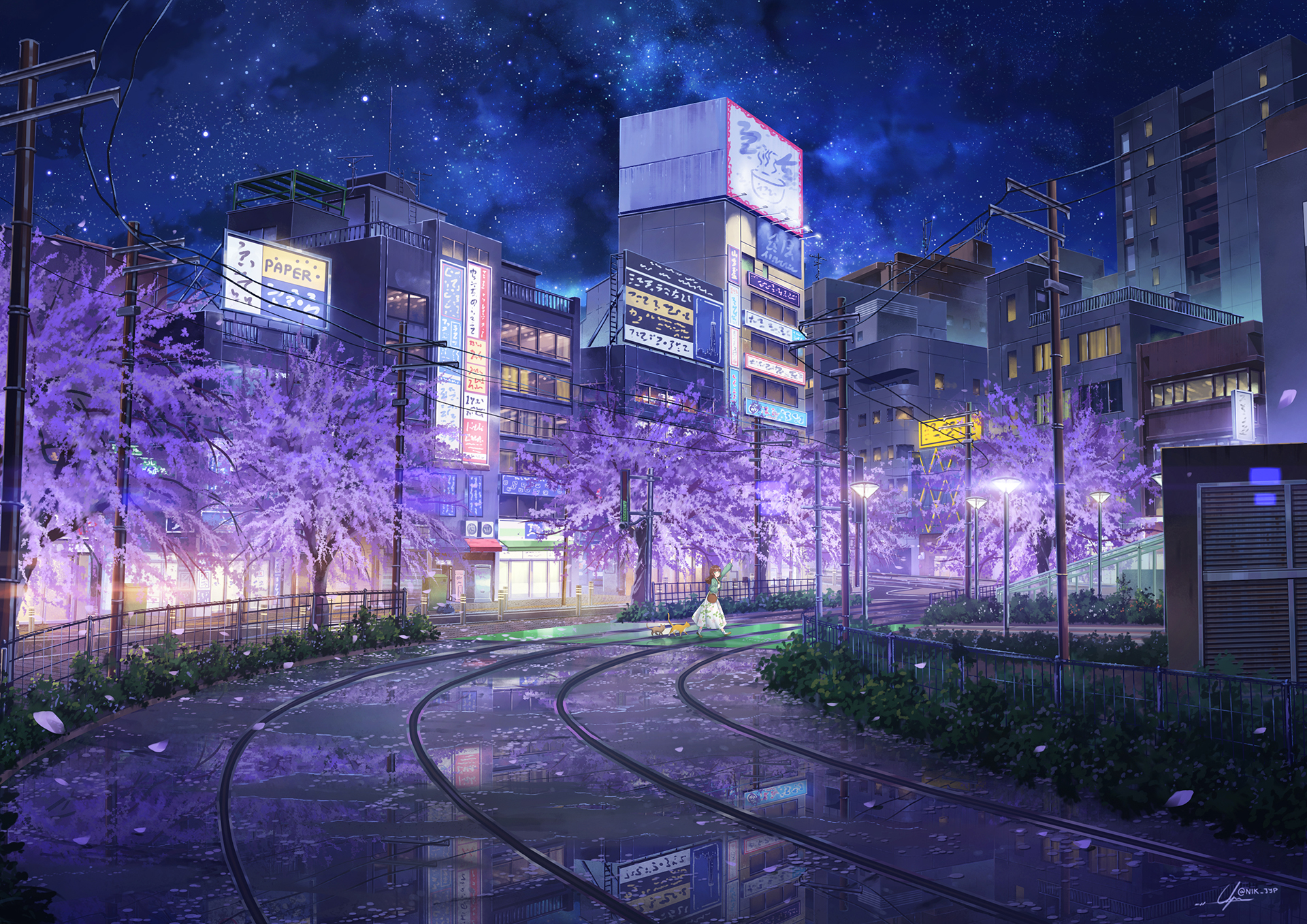 Girl Street City Building Tree Night 1920x1357