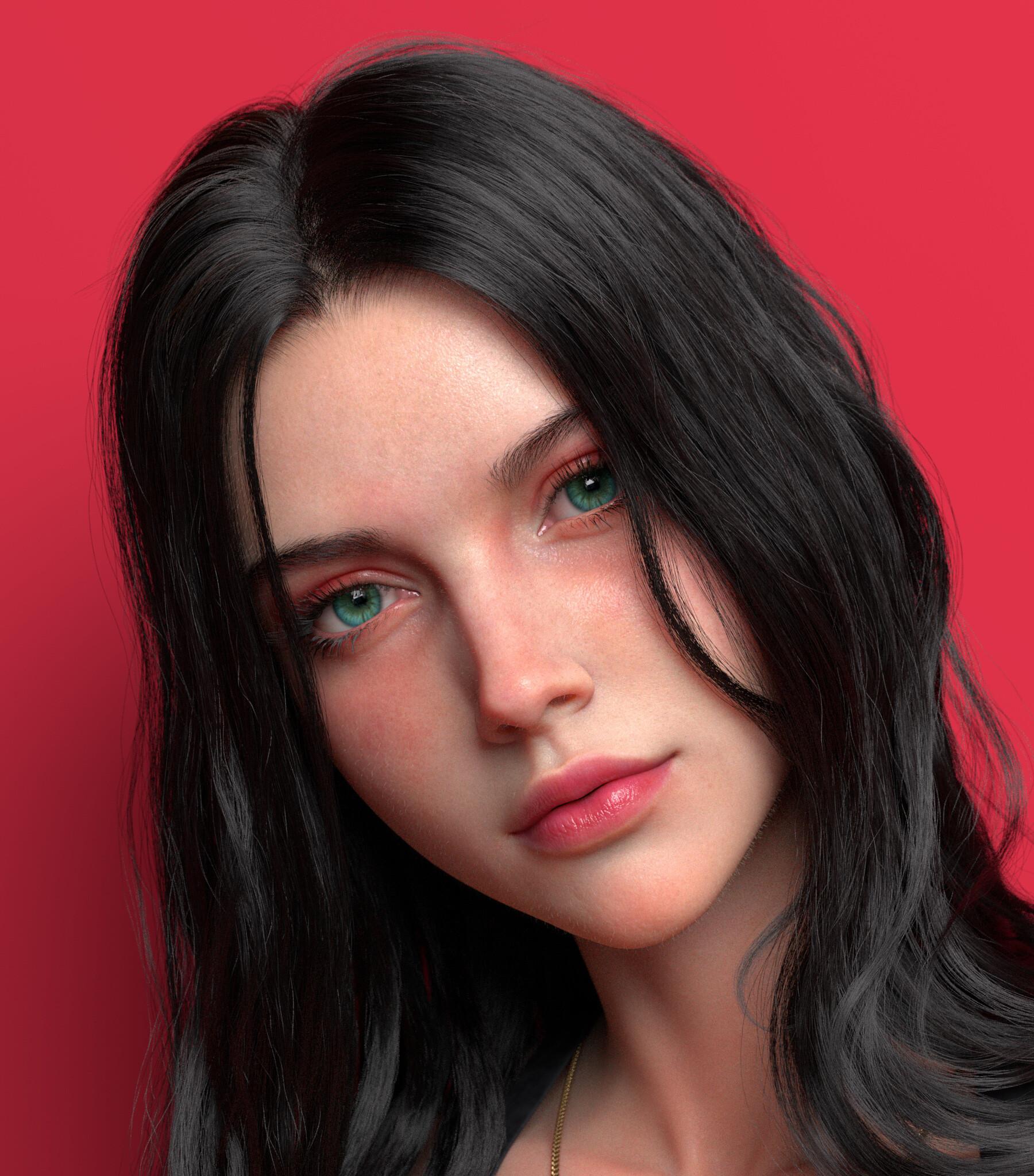 Chen Wang 3D CGi Render Face Women Looking At Viewer Dark Hair Green Eyes Closeup Red Background Sim 1800x2048
