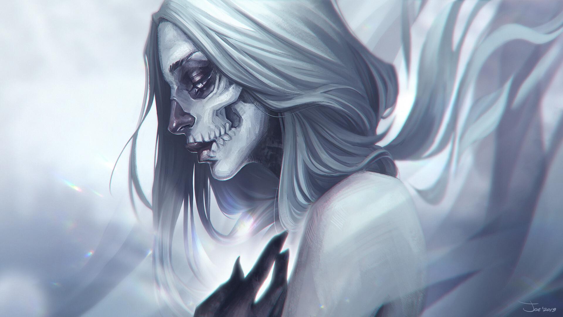 Fantasy Art Artwork Digital Art Skull White Hair 1920x1080