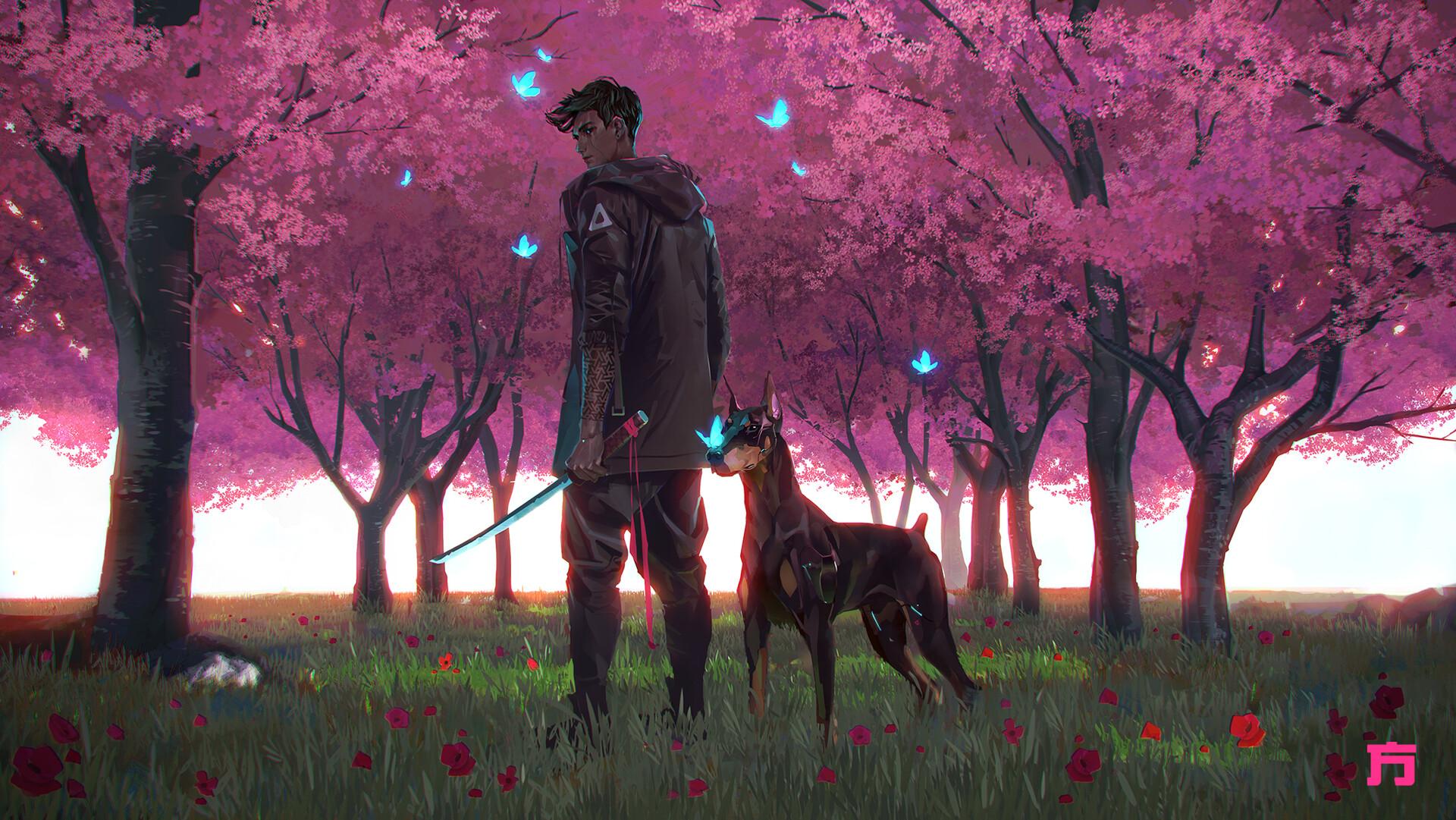 Chin Fong Digital Art Dog Doberman Pinscher Cherry Trees Cherry Blossom Sword Tattoo 1920x1081