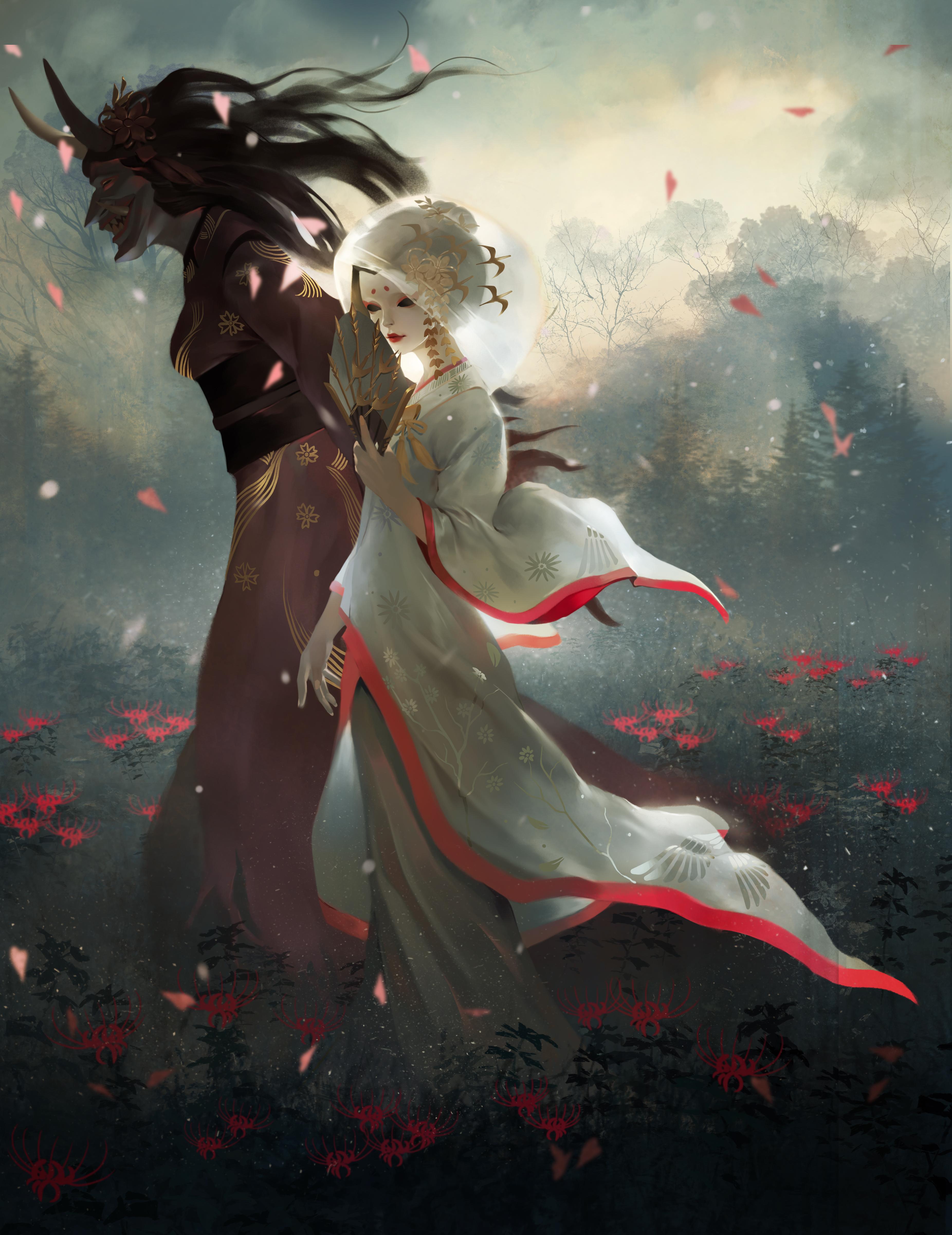 Digital Art Illustration Midfinger Geisha Oni Horns Original Characters Vertical 3704x4800