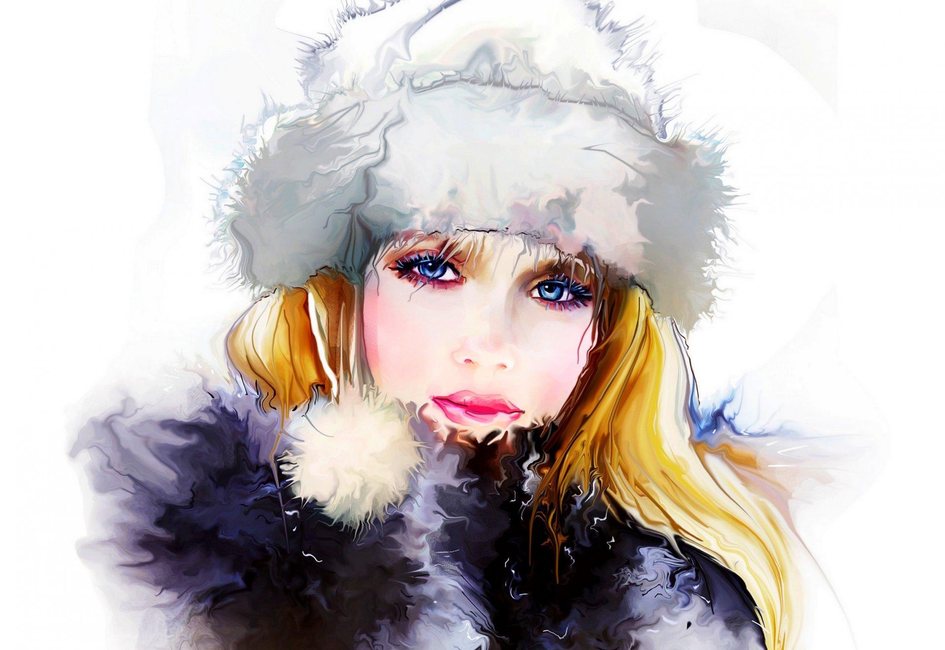 Woman Watercolor Hat Face 1920x1321