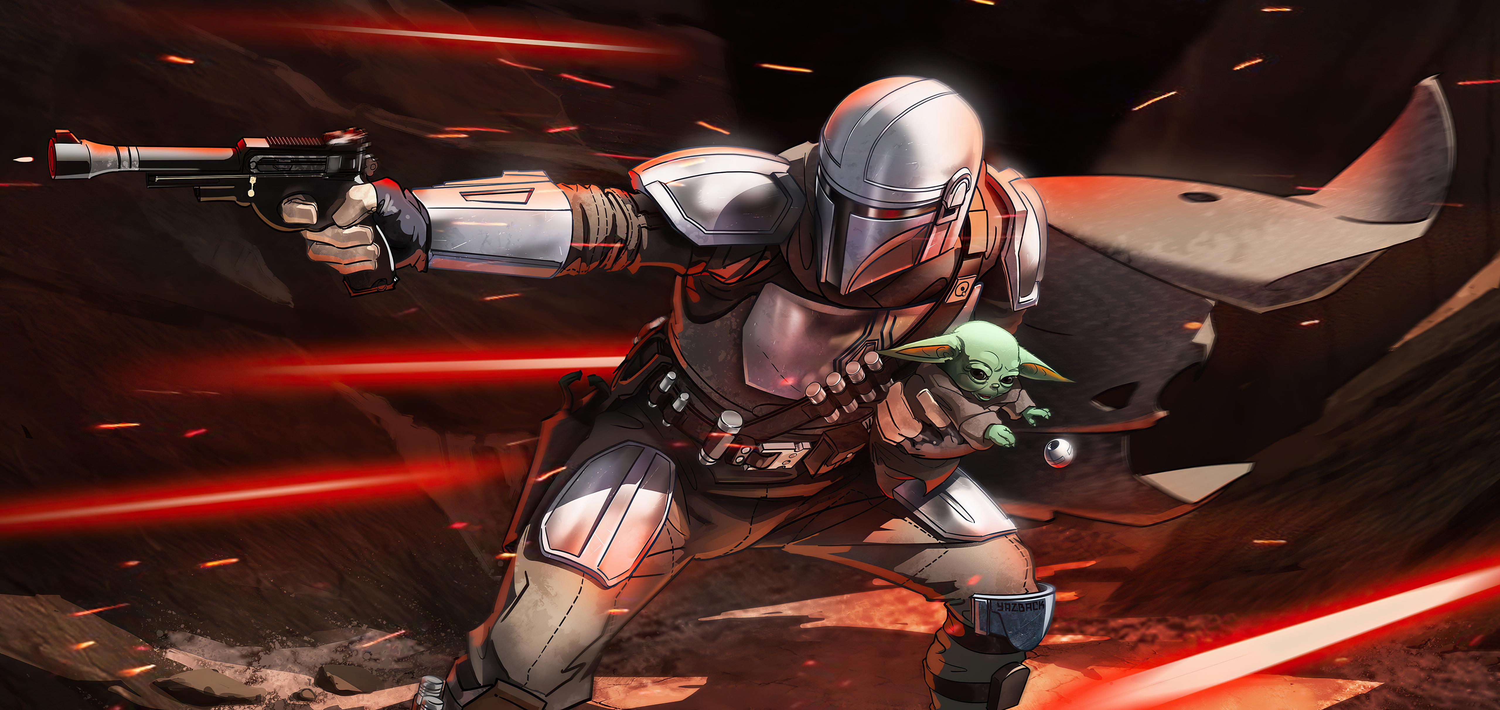 Star Wars Baby Yoda Grogu Star Wars The Mandalorian Character 5120x2425