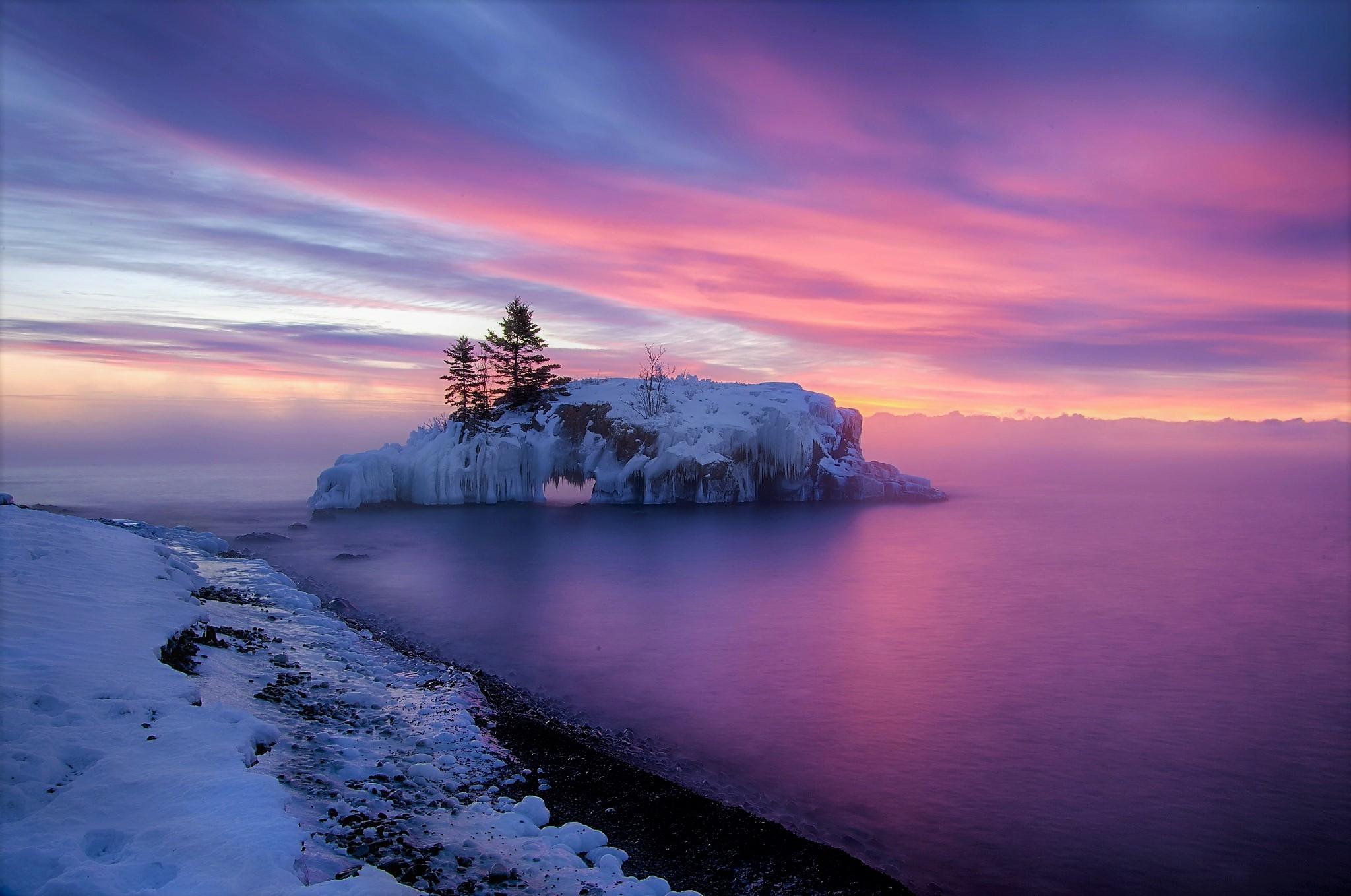 Winter Ocean Sea Island Tree Frozen Snow 2048x1358