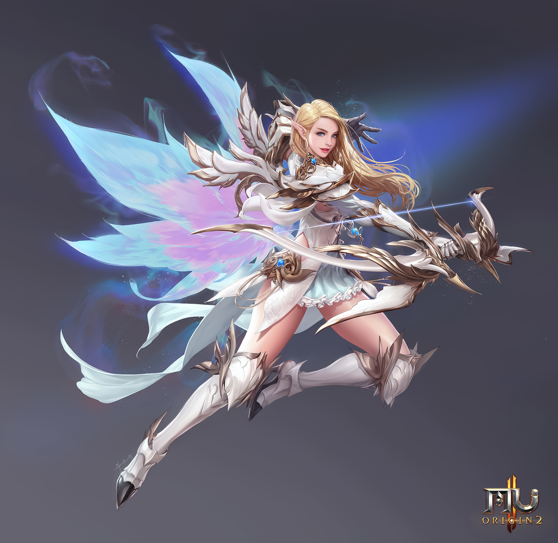 Seunghee Lee Drawing Women Blonde Long Hair Archer Bow Wings Fantasy Art Fighting Simple Background 1828x1781