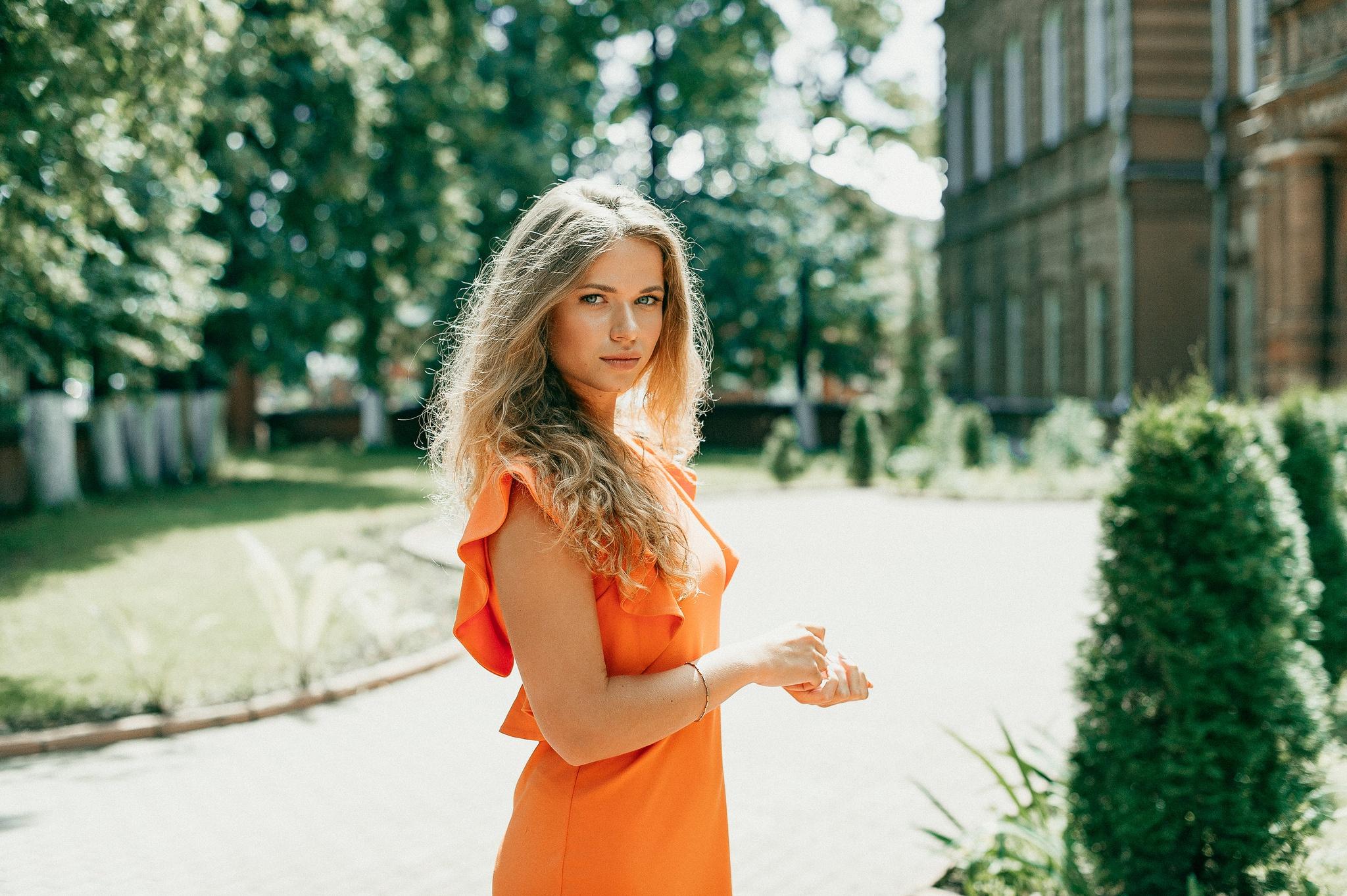 Woman Girl Blonde Orange Dress Depth Of Field 2048x1363