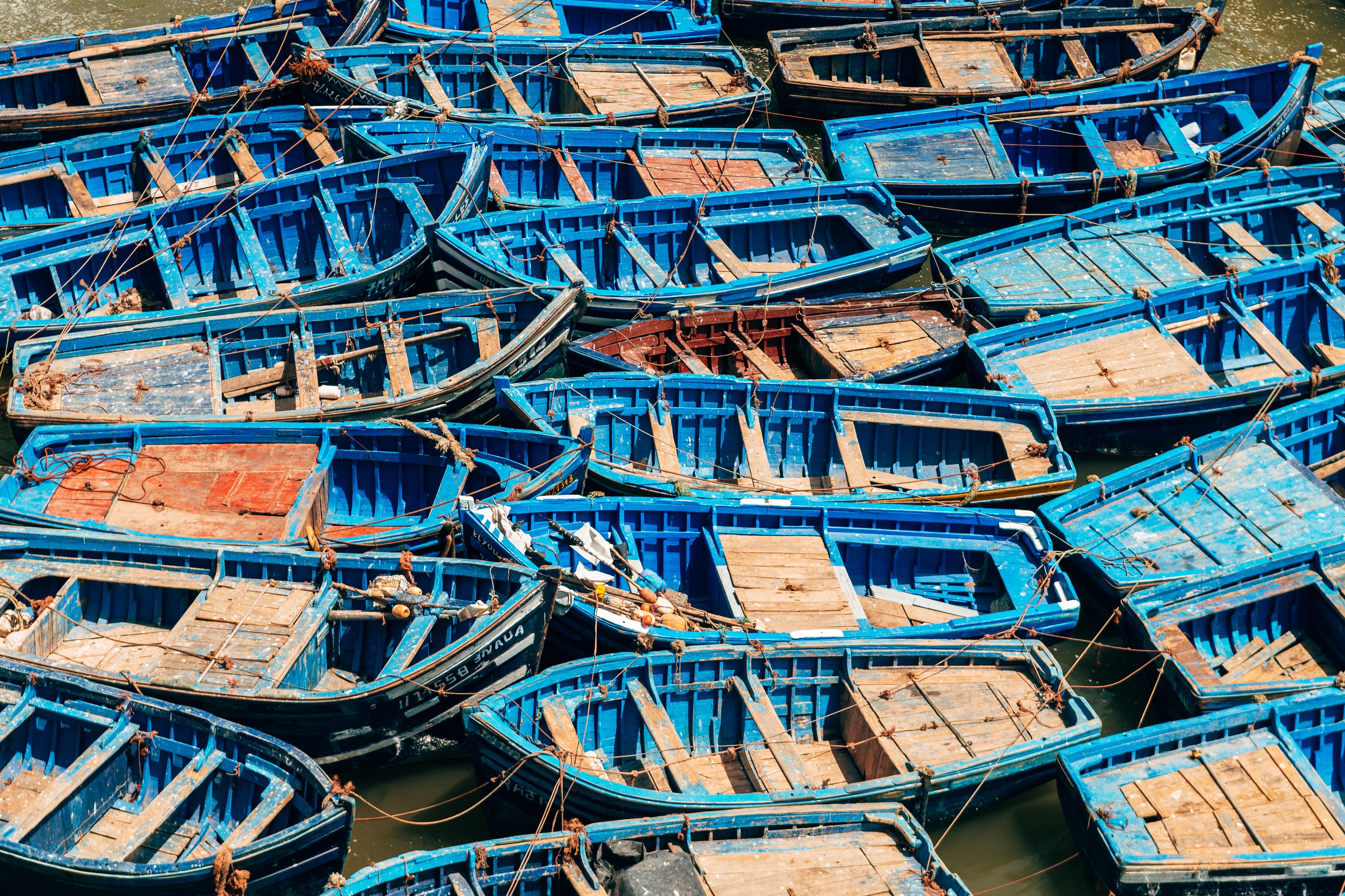 Morocco Boat Fishing Boat Blue Old Sea Shore Town Fleet Harbor Transport 4500x3000