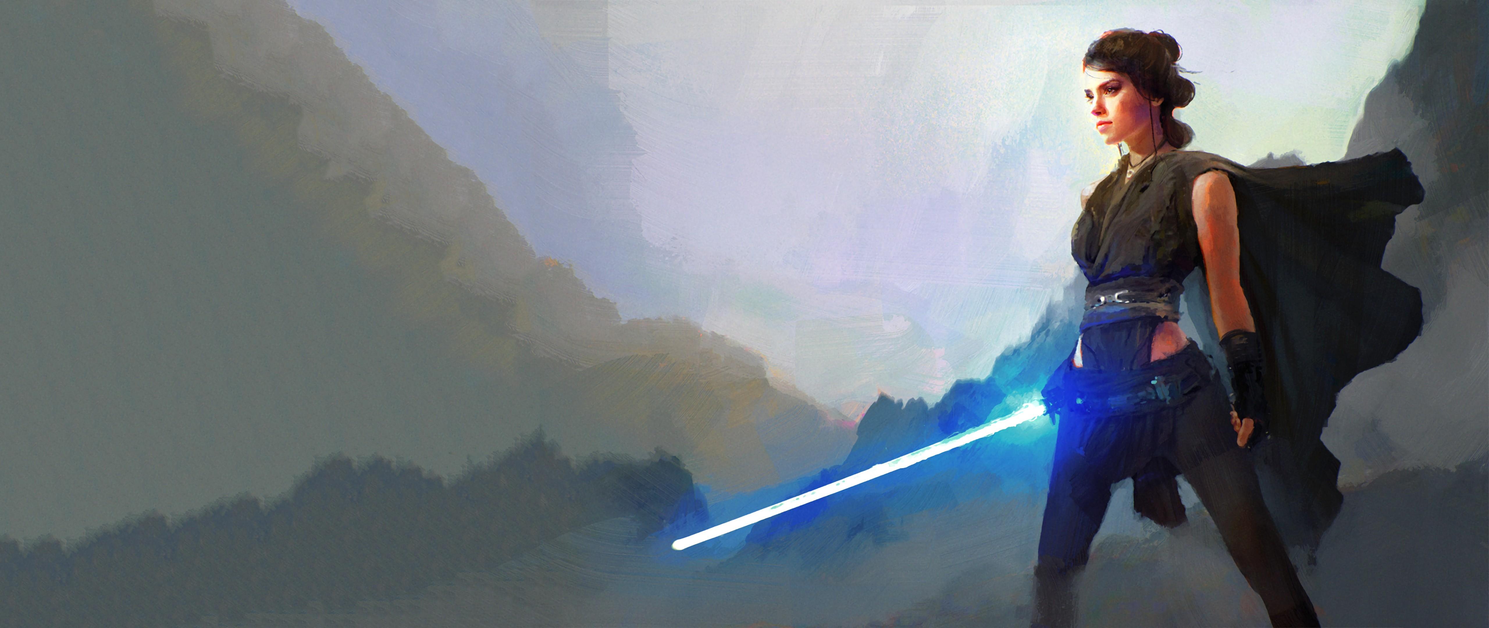 Rey Star Wars Jedi Lightsaber Artistic Woman Warrior Daisy Ridley Star Wars The Last Jedi 5120x2160