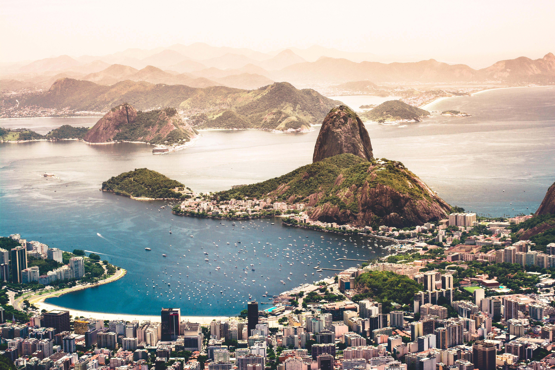 Rio De Janeiro Sunset Beach Boat Building City Coast 6000x4000