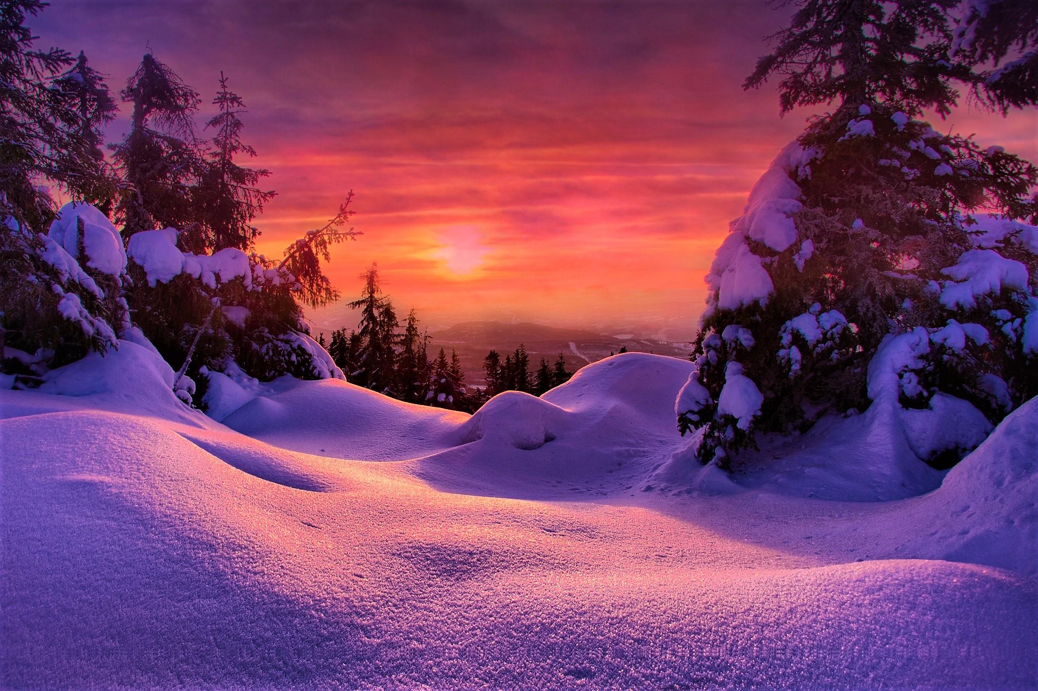 Winter Snow Sky 2048x1363