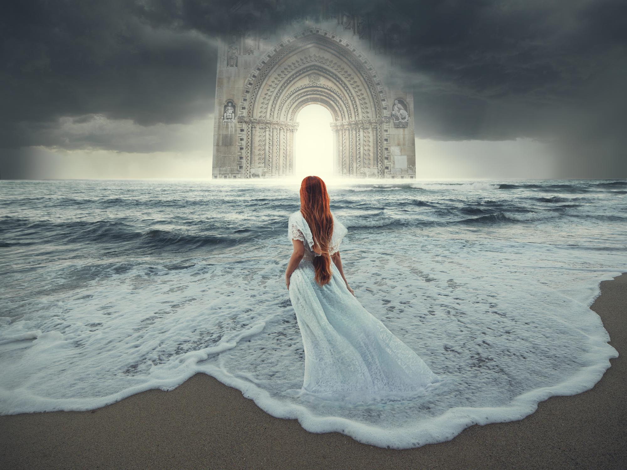 Arch Girl Horizon Long Hair Ocean Redhead Sea White Dress Woman 2000x1500