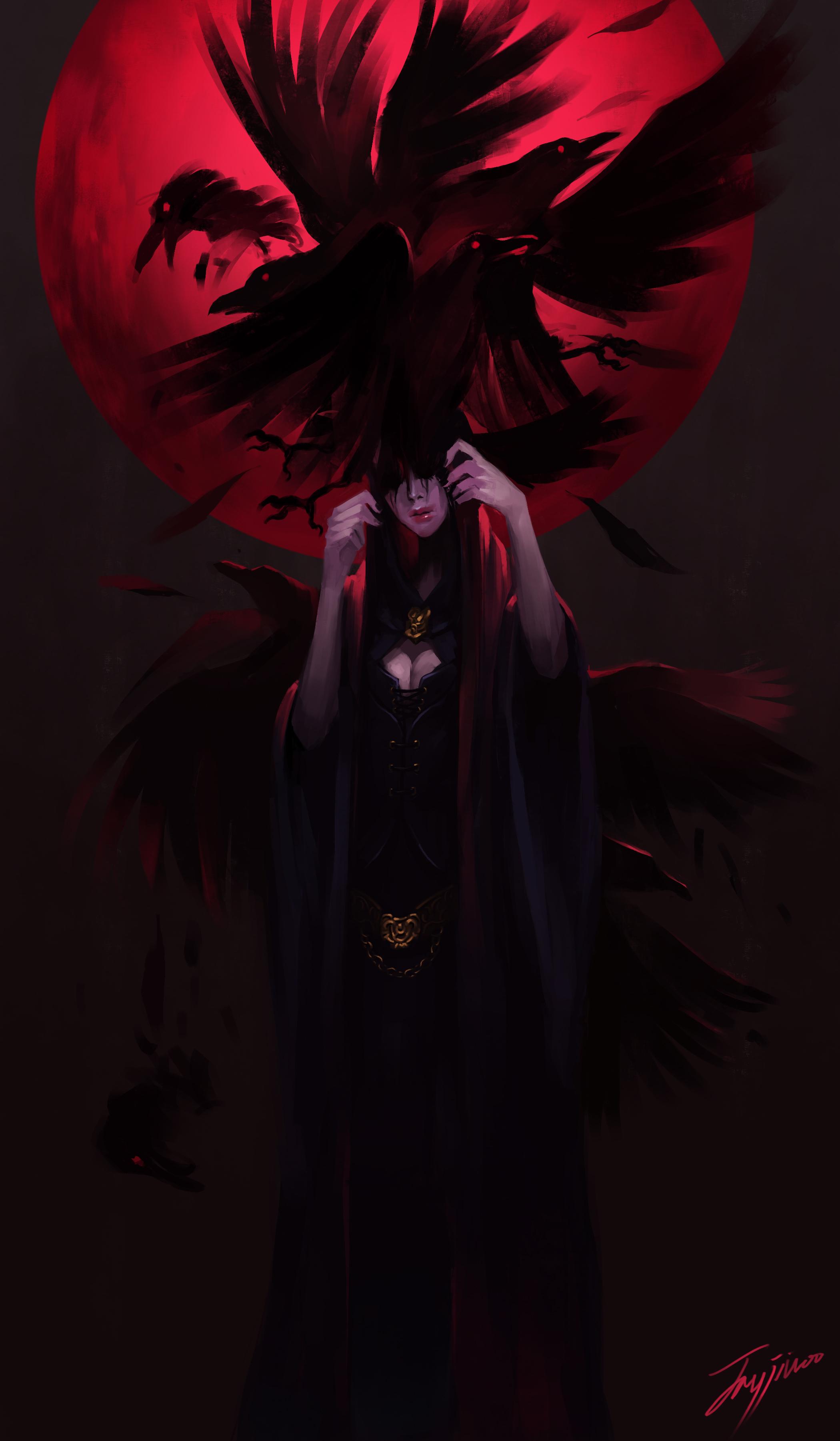 Digital Art Illustration Midfinger Original Characters Crow Red Moon Moon Vertical 2100x3603