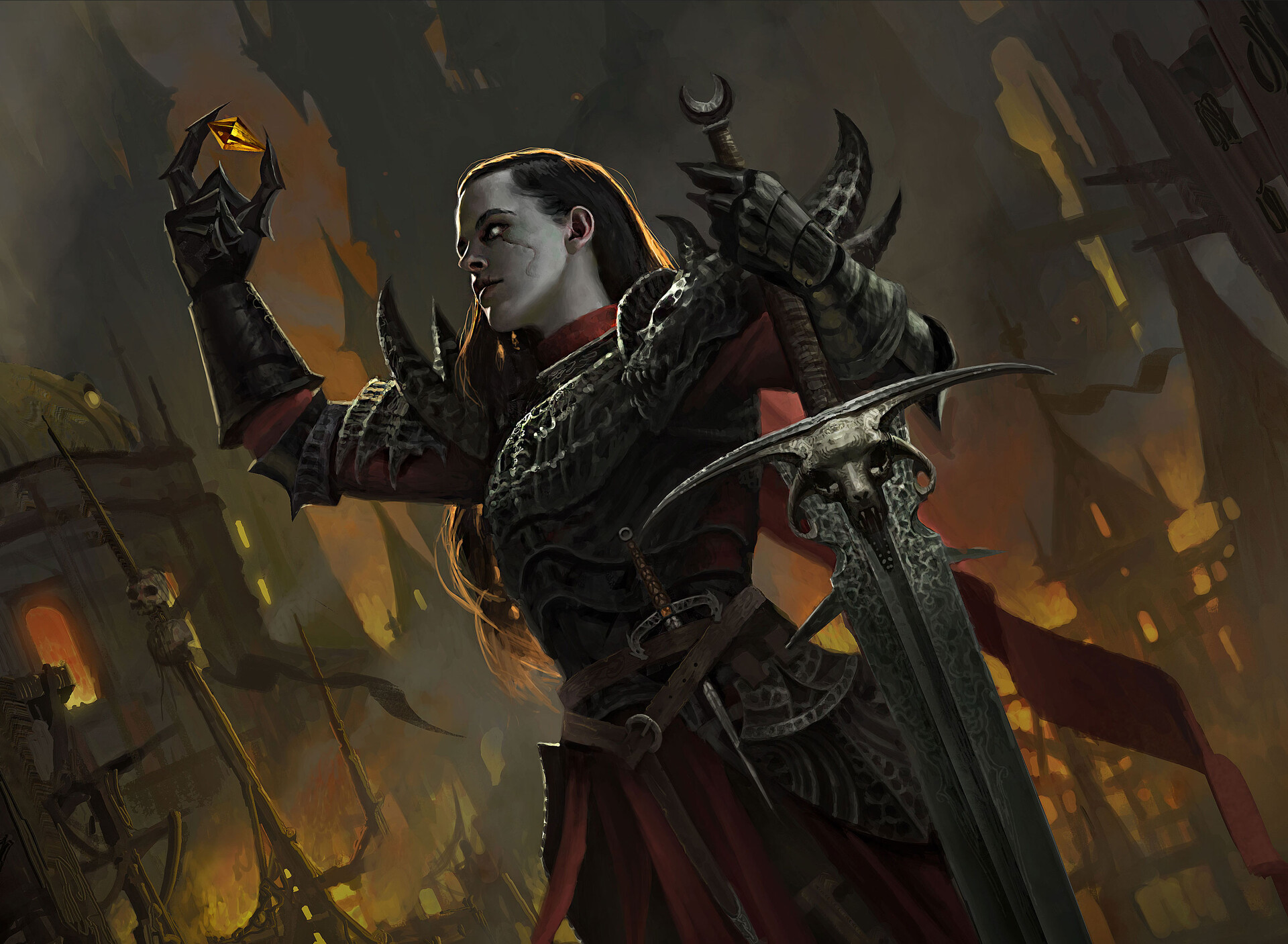 Lorenzo Mastroianni Artwork Fantasy Art Fantasy Girl Girls With Swords Fantasy Armor Sword Weapon 1920x1406