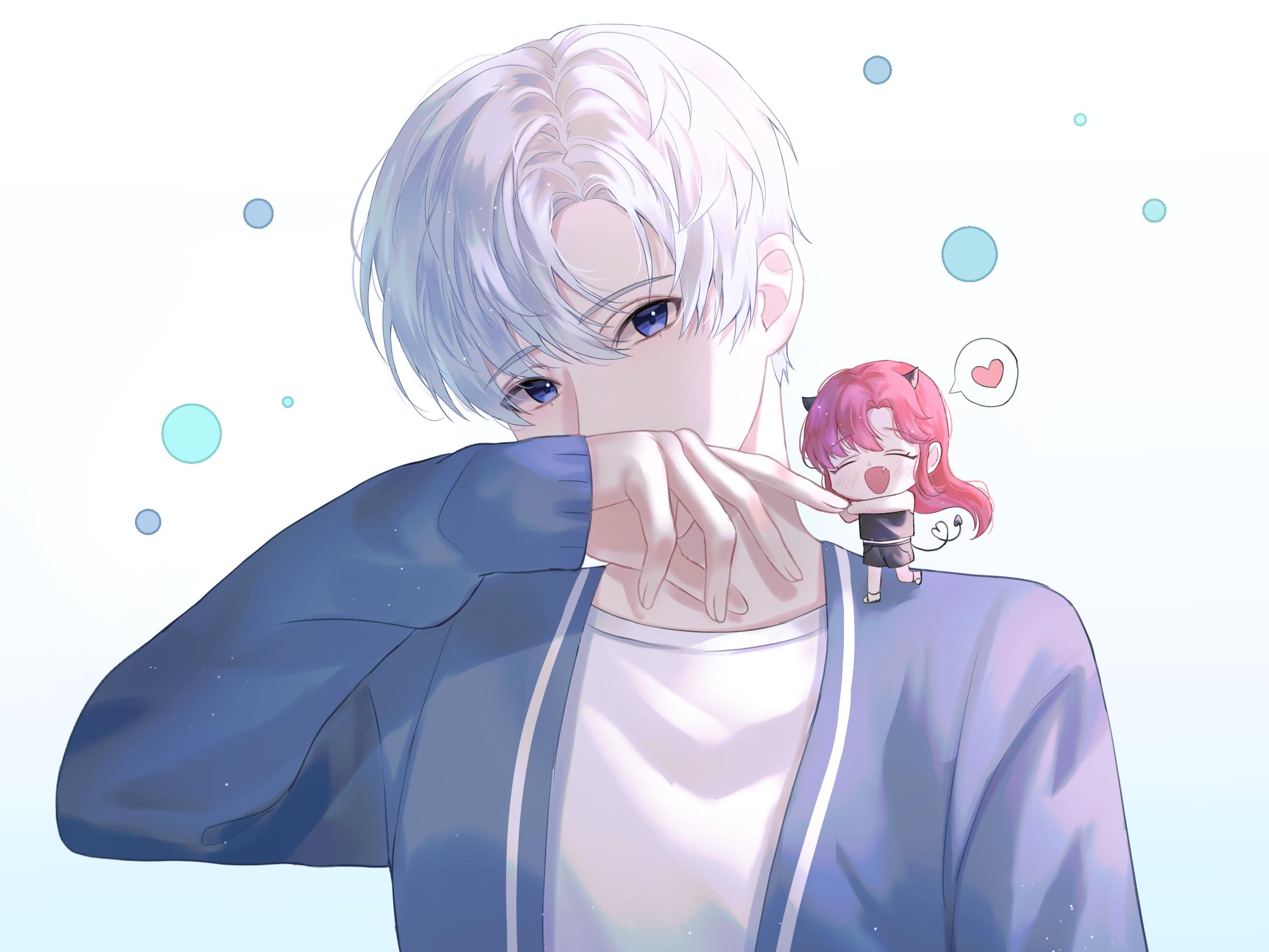 Blue Eyes Boy Bubble Girl White Hair 2236x1677