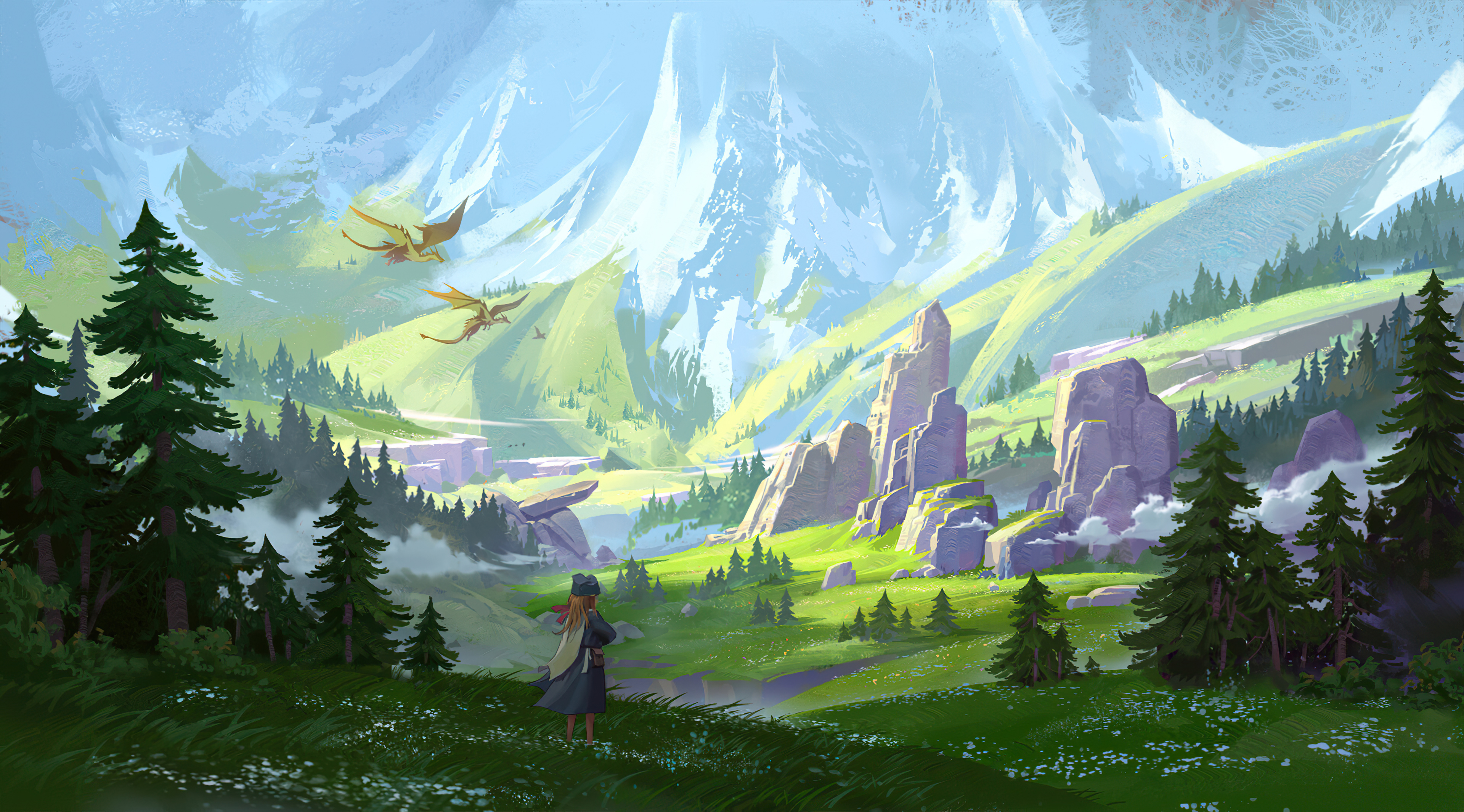 Dragon Girl Mountain 3840x2130