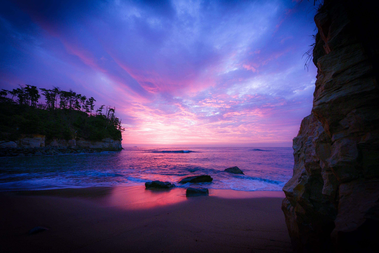 Beach Horizon Ocean Rock Sea Sky Sunset 3000x2000