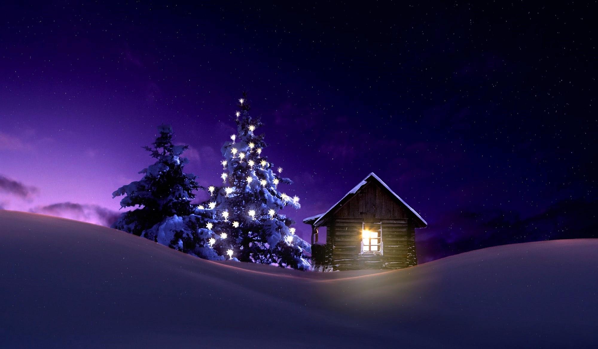 Cabin Christmas Light Night Snow Tree Winter 2000x1166