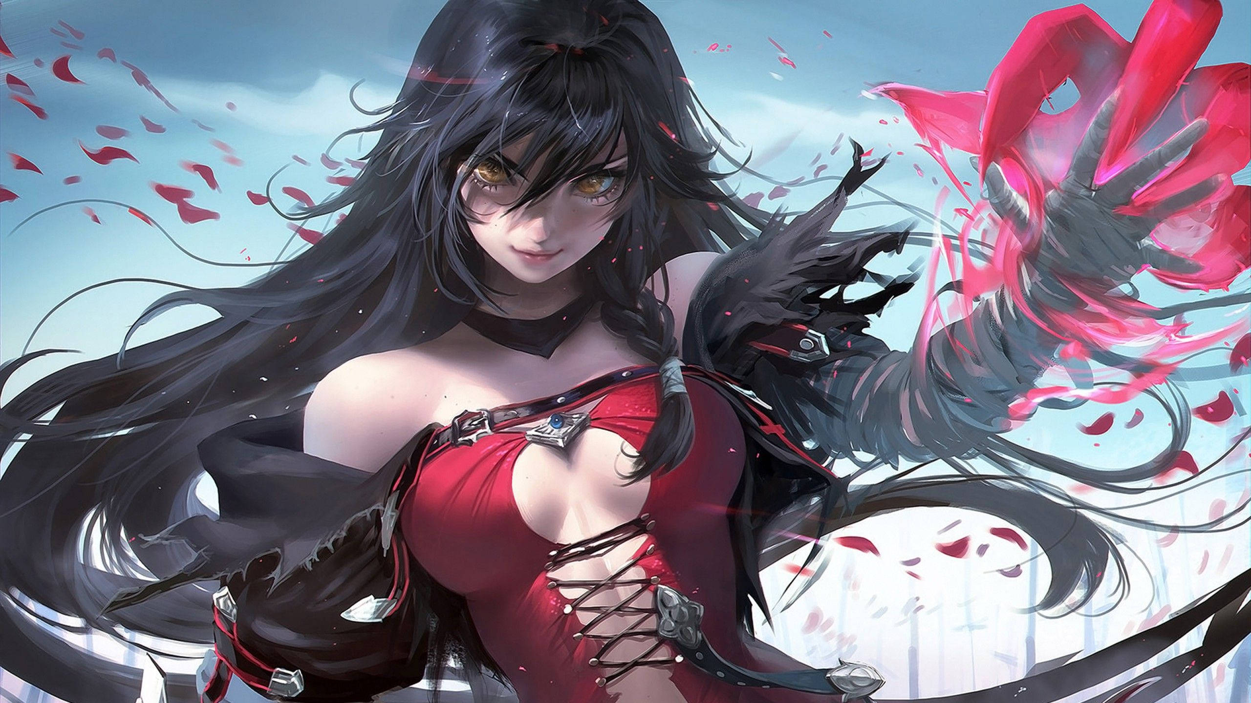 Anime Anime Girls Black Hair Long Hair Bangs Braided Hair Red Dress Armor Gloves Choker Magic Red Pe 2560x1440