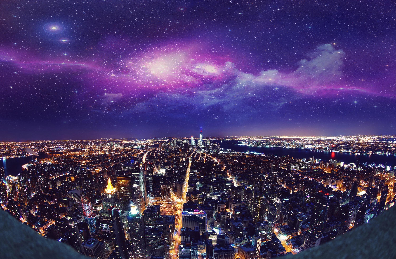 City Usa Cityscape Night Building Sky Manipulation Horizon 3000x1958