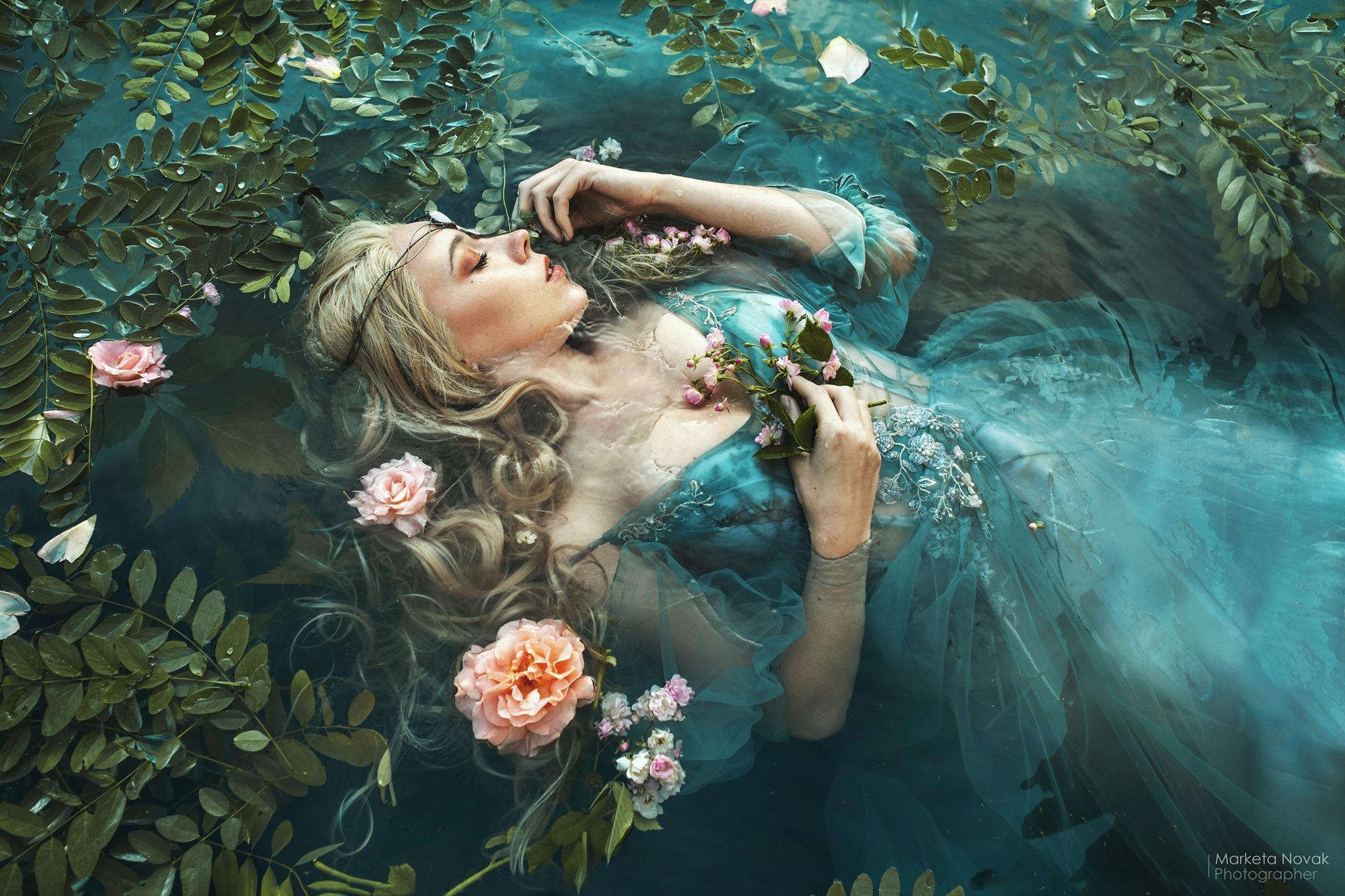 Marketa Novak Women Model In Water Dress Flowers Plants Fantasy Girl Closed Eyes Cyan Dress Blonde W 2048x1365