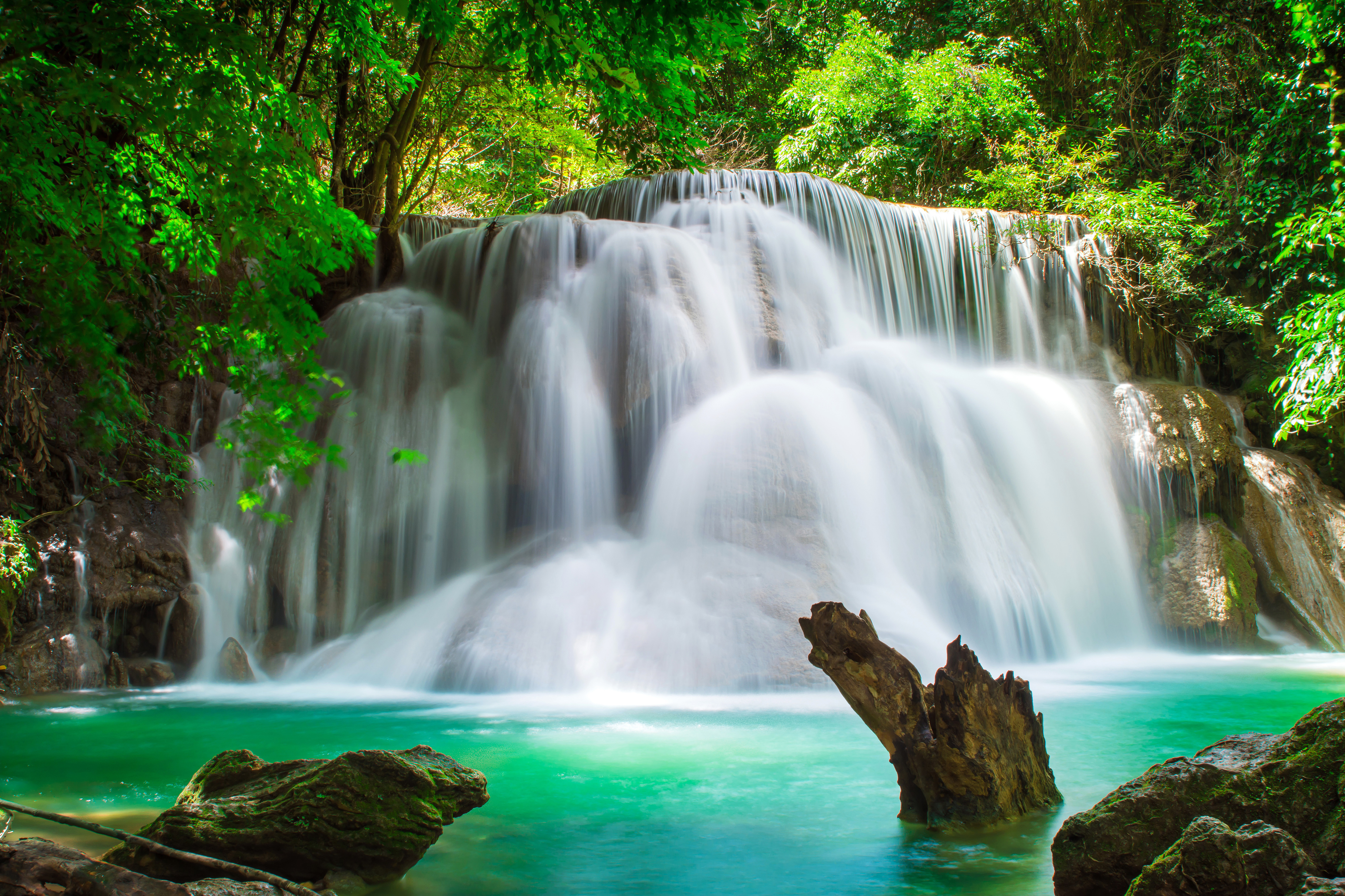 Forest Turquoise Waterfall 4576x3050