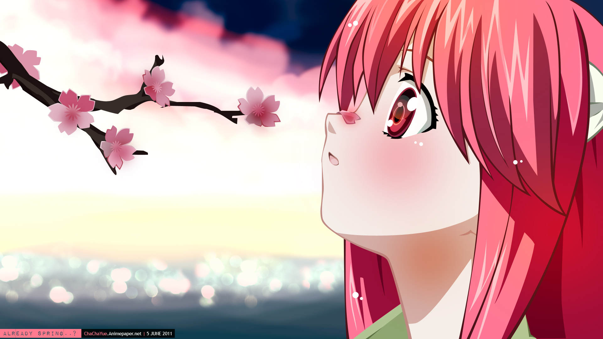 Elfen Lied Lucy Anime Anime Girls Series Fan Art Pink Hair Long Hair Bangs Horns Side View Red Eyes  1920x1080