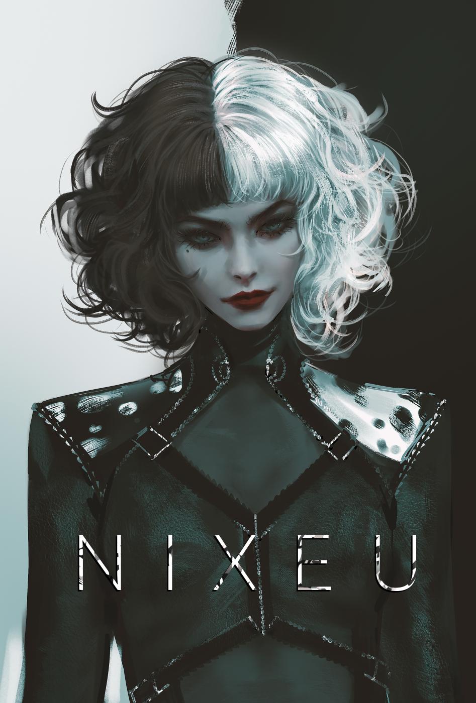 Cruella Cruella De Vil Emma Stone Disney Nixeu Women White Hair Black Hair Artwork Fan Art Illustrat 947x1400