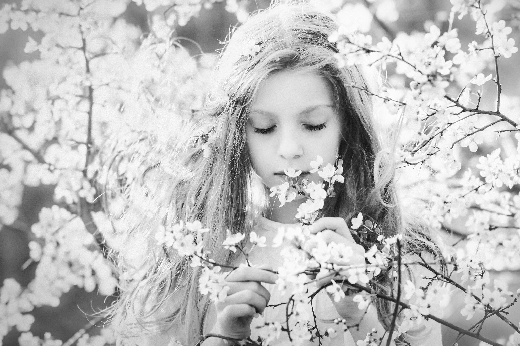 Outdoors Plants Cherry Blossom Children Portrait Long Hair Photography Monochrome Flowers Women Outd 2048x1365
